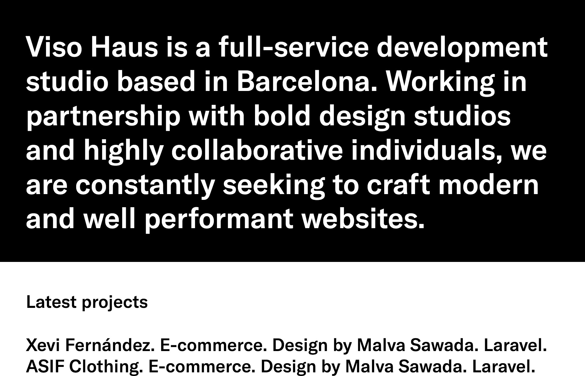 Screenshot of the website Viso Haus, featured on The Gallery, a curated collection of minimal websites