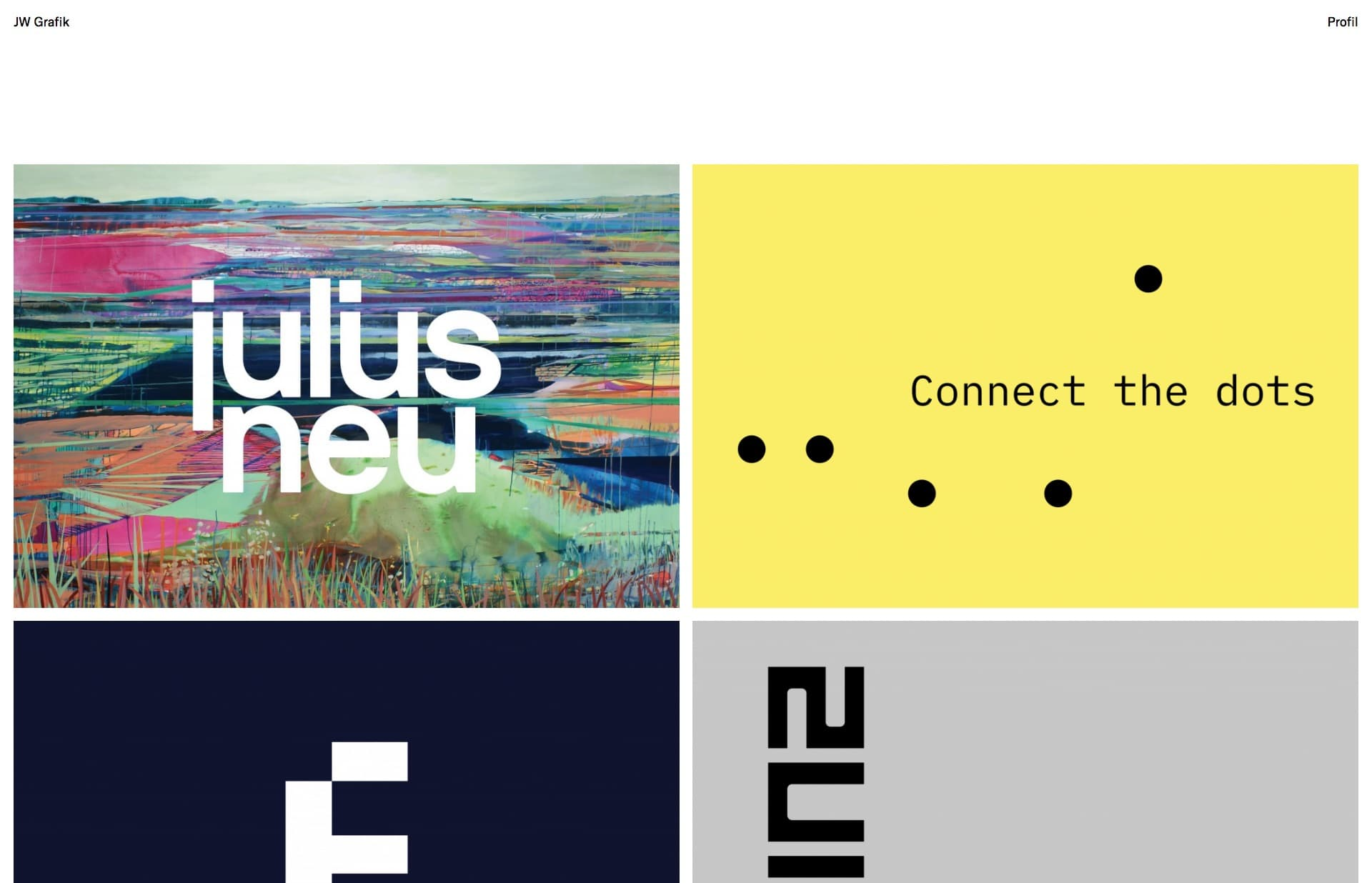 Screenshot of the website JW Grafik, featured on The Gallery, a curated collection of minimal websites