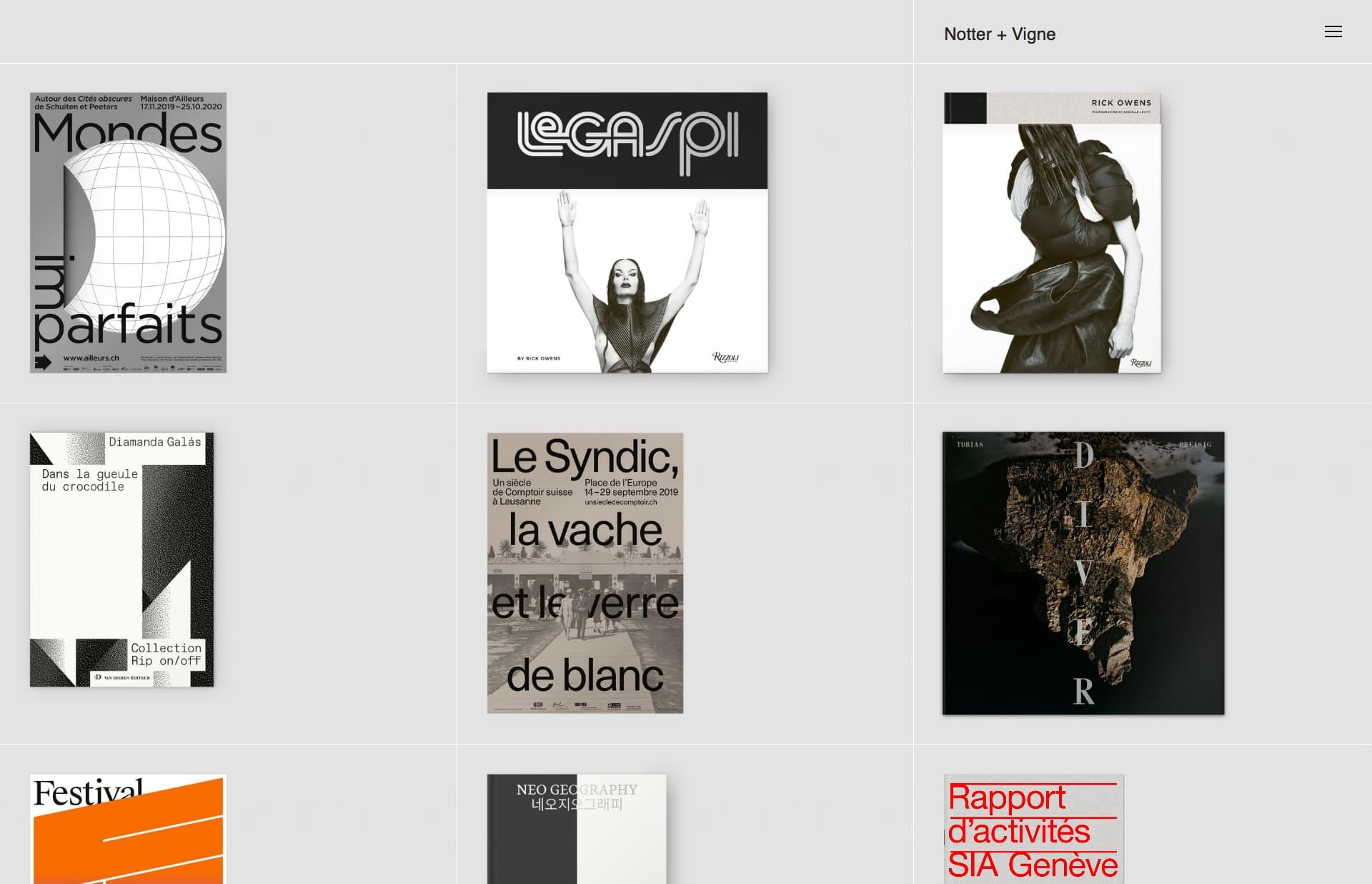 Screenshot of the website Notter + Vigne, featured on The Gallery, a curated collection of minimal websites
