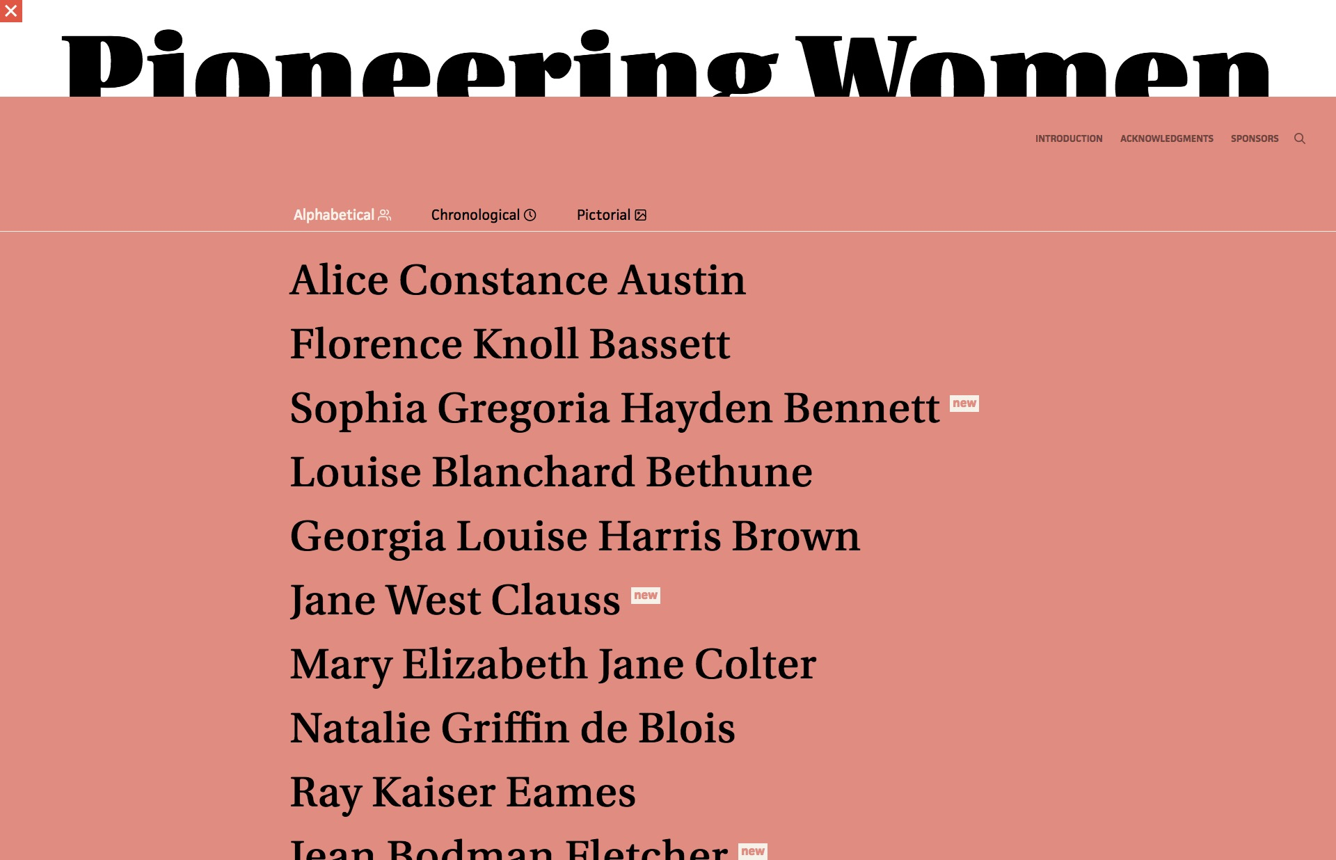 Screenshot of the website Pioneering Women of American Architecture, featured on The Gallery, a curated collection of minimal websites