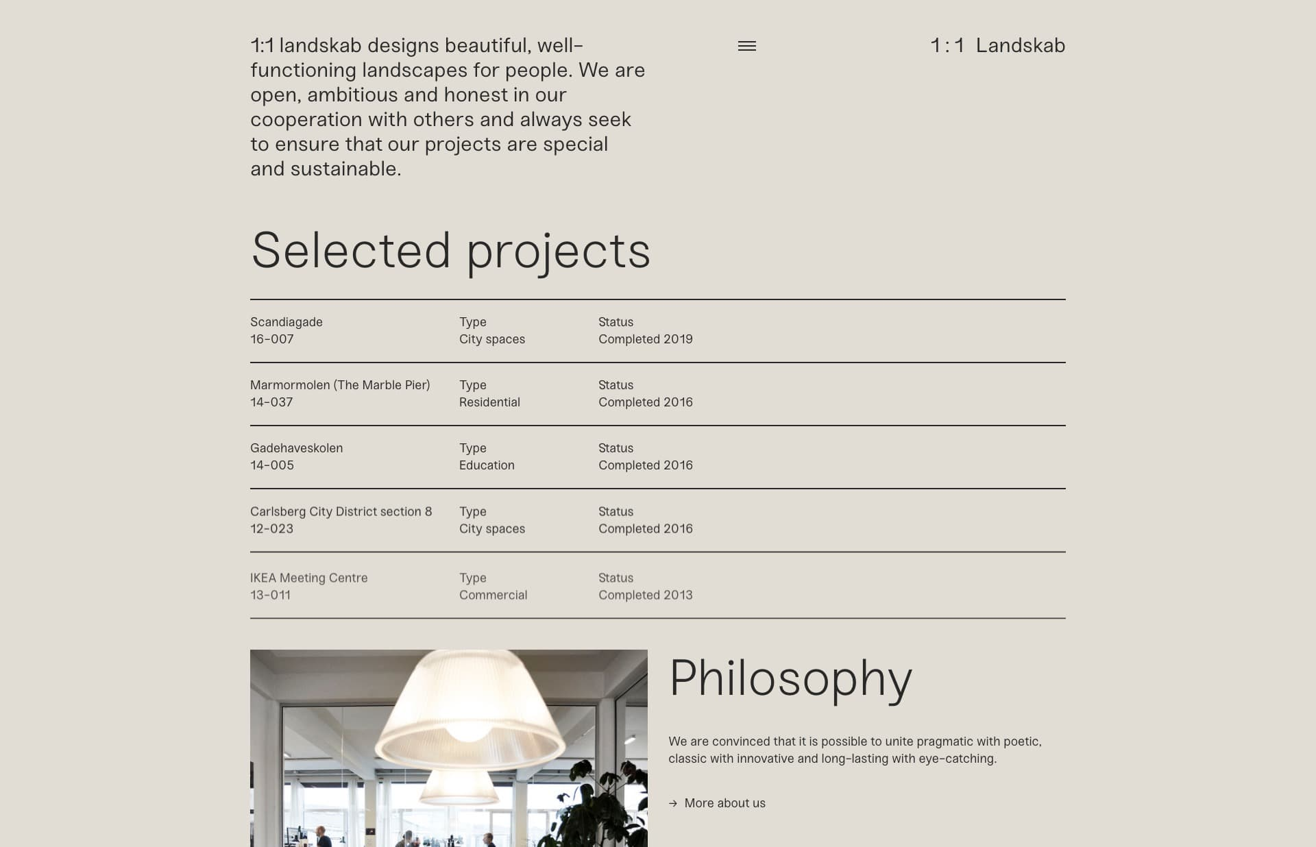 Screenshot of the website 1 : 1 Landskab, featured on The Gallery, a curated collection of minimal websites