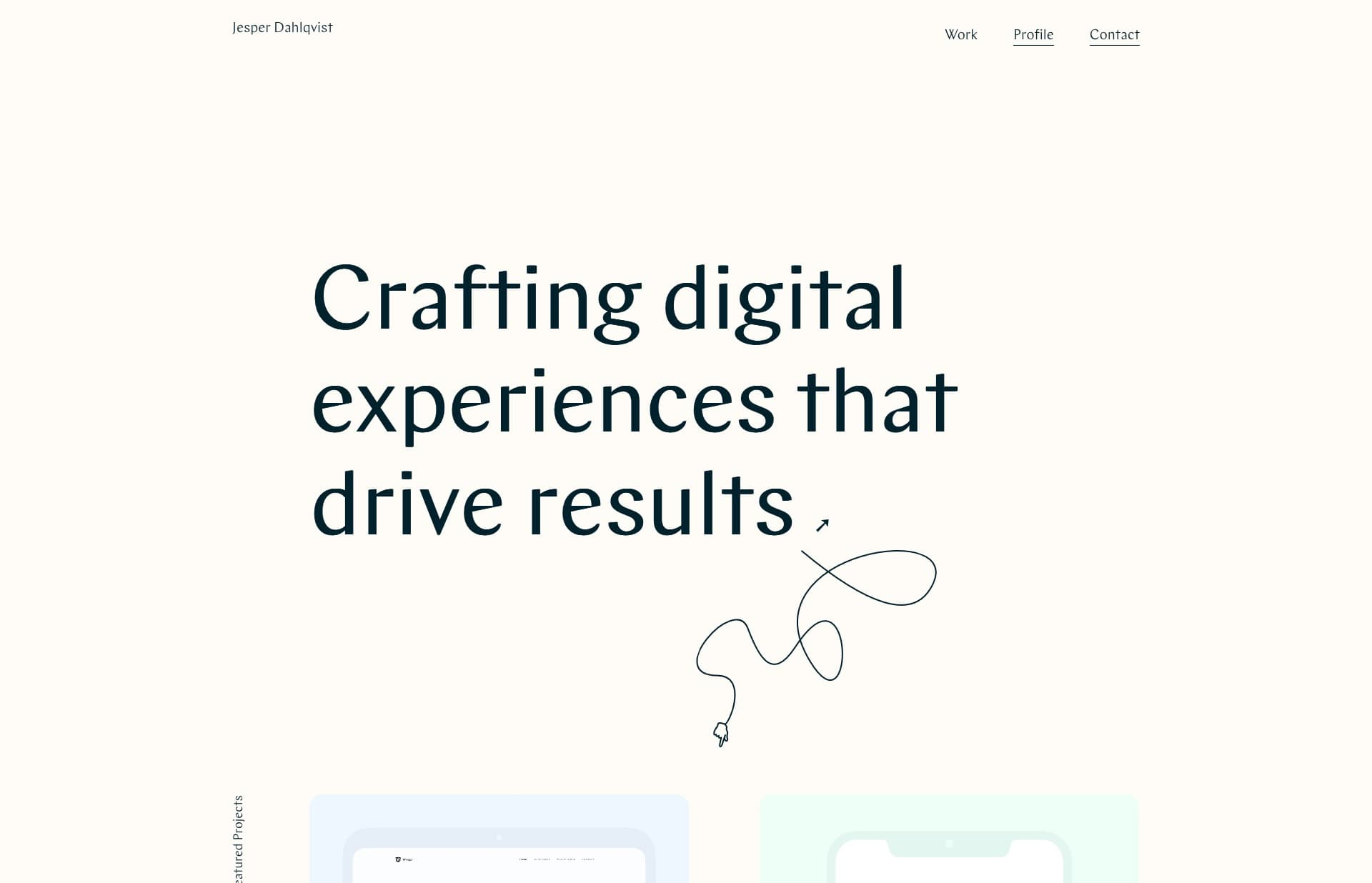 Screenshot of the website Jesper Dahlqvist, featured on The Gallery, a curated collection of minimal websites