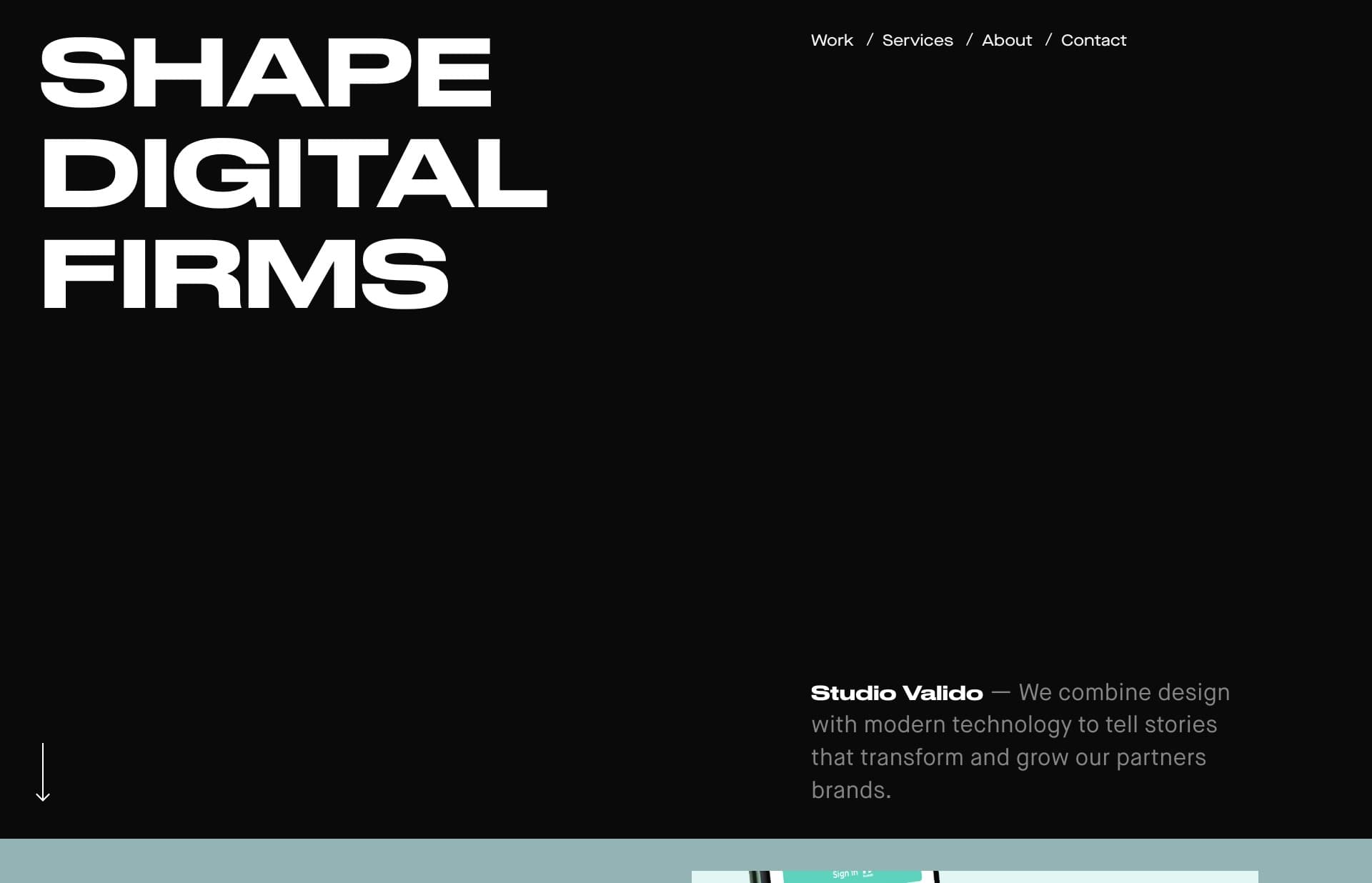 Screenshot of the website Studio Valido, featured on The Gallery, a curated collection of minimal websites