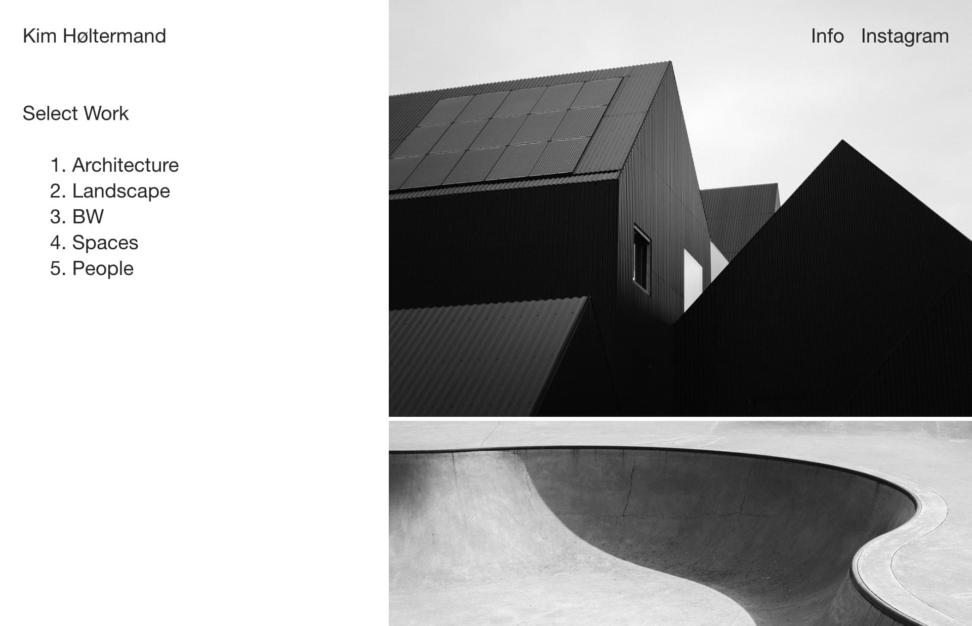 Screenshot of the website Kim Høltermand, featured on The Gallery, a curated collection of minimal websites