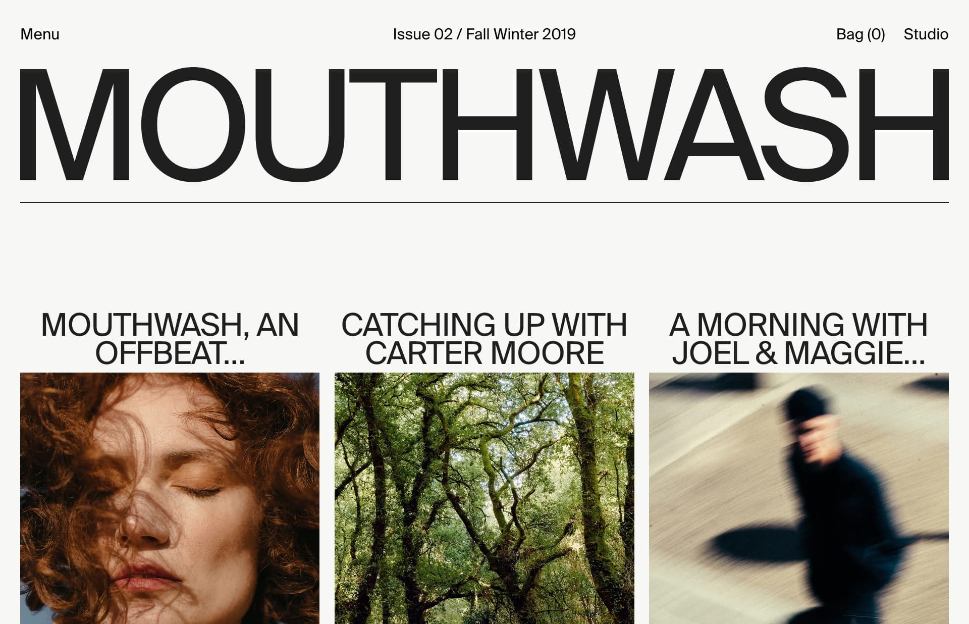 Screenshot of the website Mouthwash, featured on The Gallery, a curated collection of minimal websites