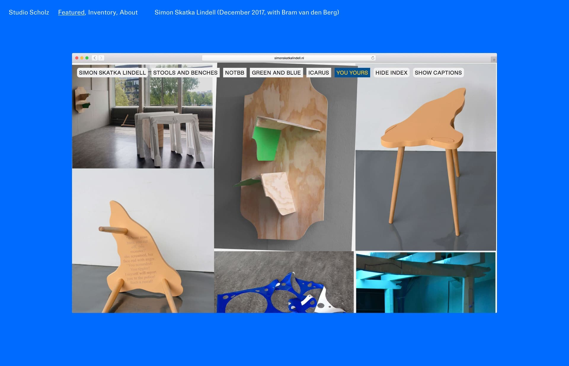 Screenshot of the website Studio Scholz, featured on The Gallery, a curated collection of minimal websites