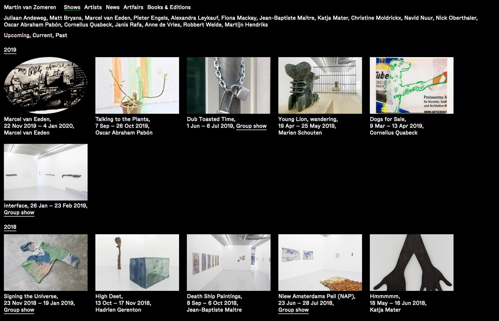 Screenshot of the website Martin van Zomeren, featured on The Gallery, a curated collection of minimal websites