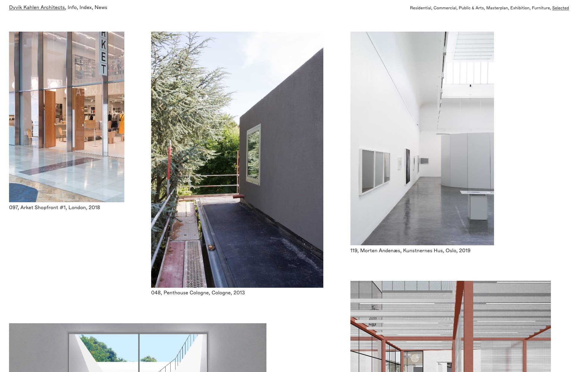 Screenshot of the website Dyvik Kahlen Architects, featured on The Gallery, a curated collection of minimal websites