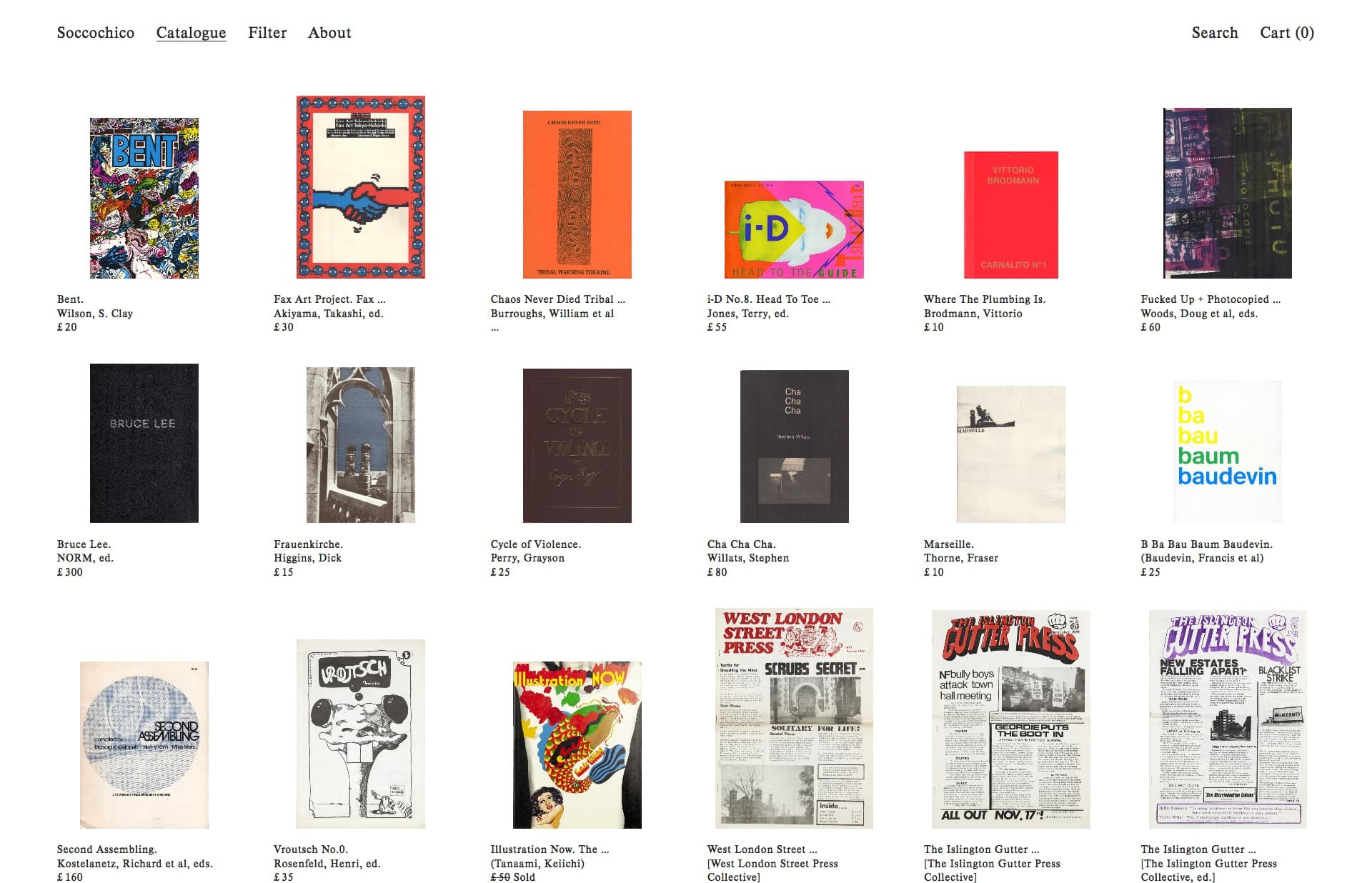 Screenshot of the website Soccochico, featured on The Gallery, a curated collection of minimal websites