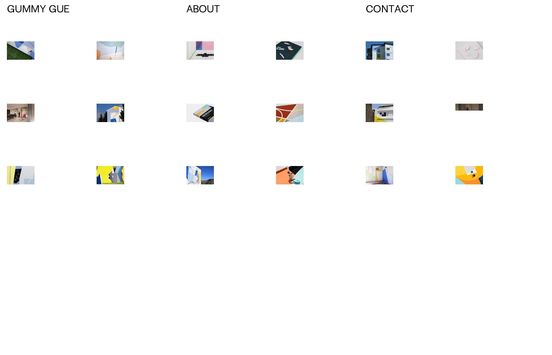 Screenshot of the website Gummy Gue, featured on The Gallery, a curated collection of minimal websites
