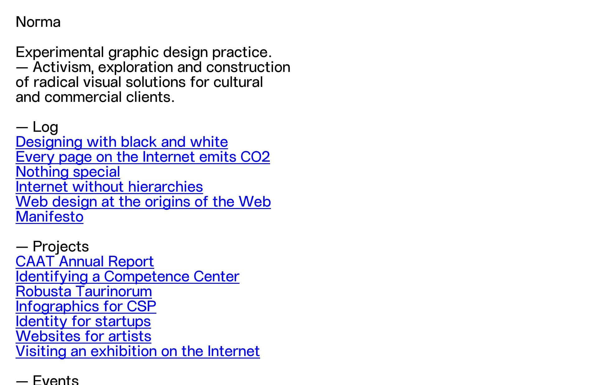 Screenshot of the website Norma, featured on The Gallery, a curated collection of minimal websites