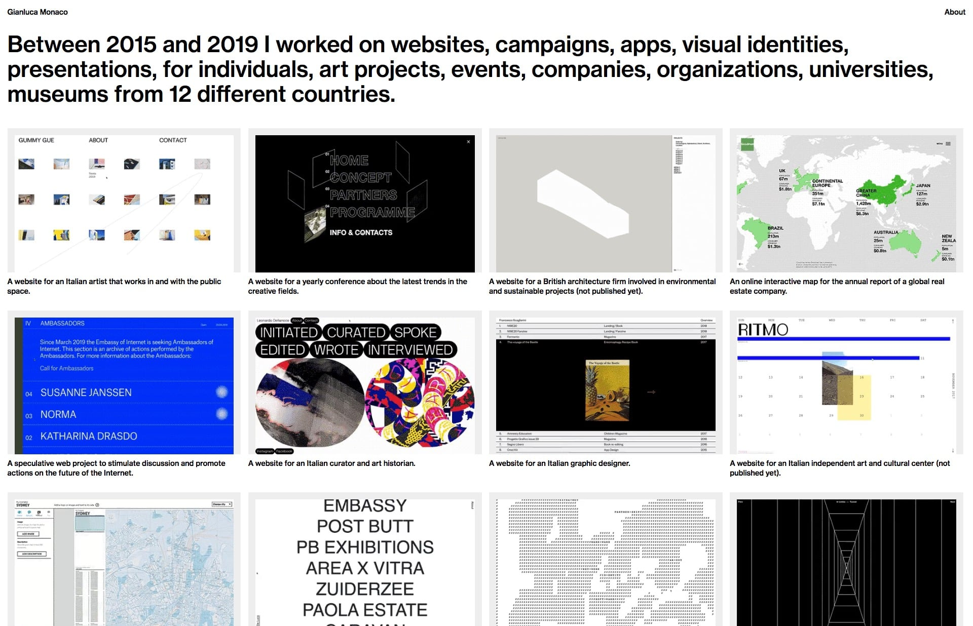 Screenshot of the website Gianluca Monaco, featured on The Gallery, a curated collection of minimal websites