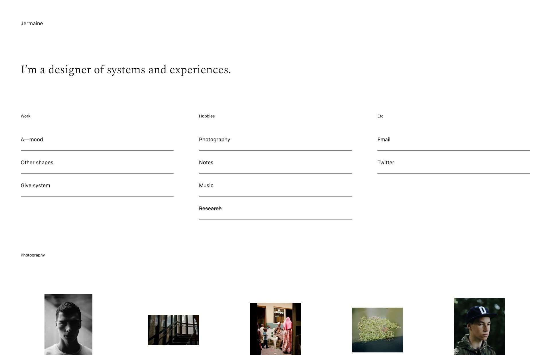 Screenshot of the website Jermaine Craig, featured on The Gallery, a curated collection of minimal websites