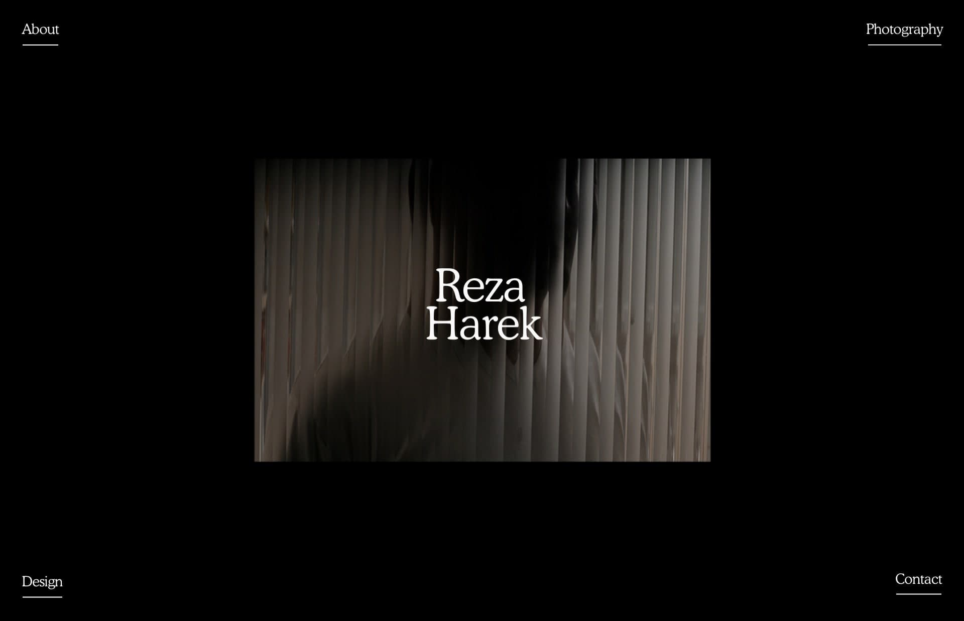 Screenshot of the website Reza Harek, featured on The Gallery, a curated collection of minimal websites