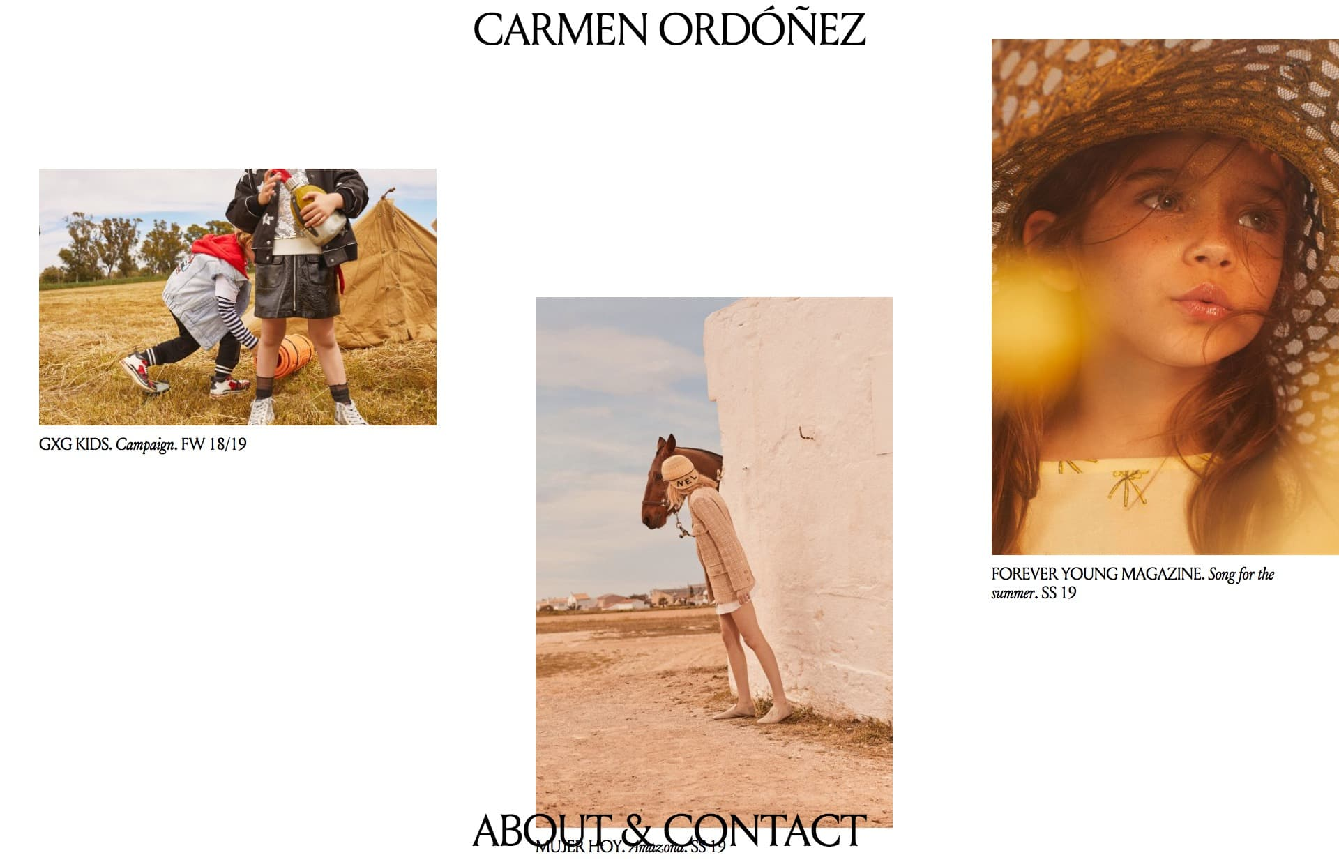 Screenshot of the website Carmen Ordóñez, featured on The Gallery, a curated collection of minimal websites