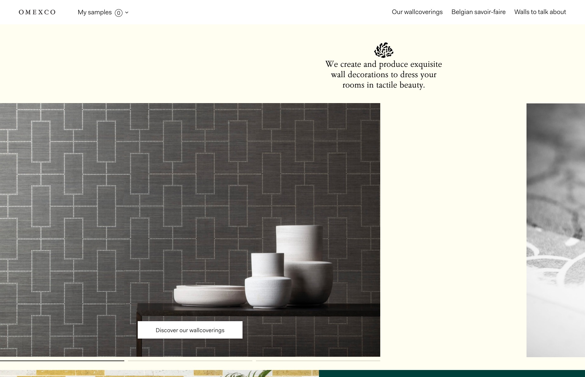 Screenshot of the website Omexco, featured on The Gallery, a curated collection of minimal websites