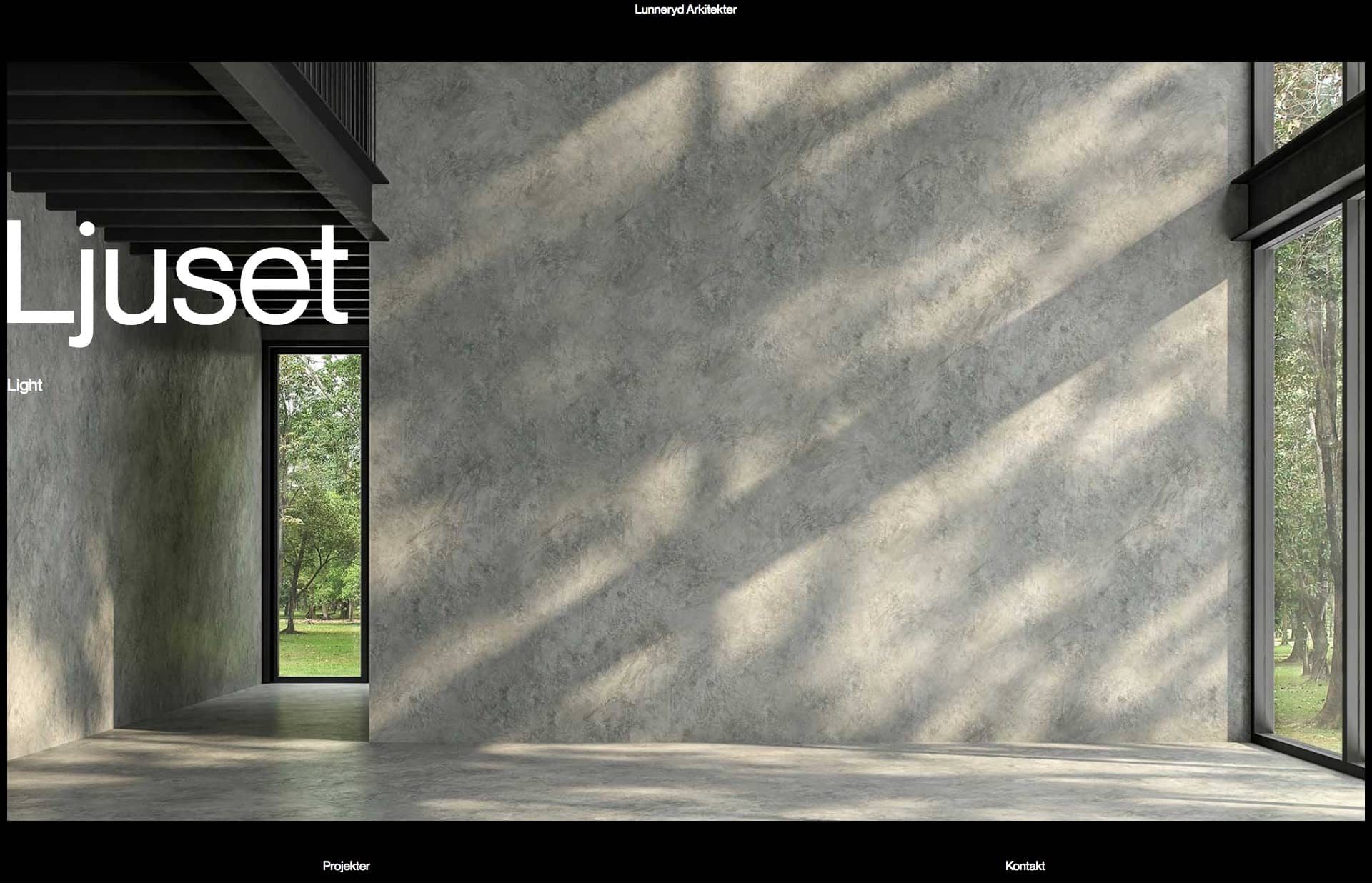 Screenshot of the website Lunneryd Arkitekter, featured on The Gallery, a curated collection of minimal websites