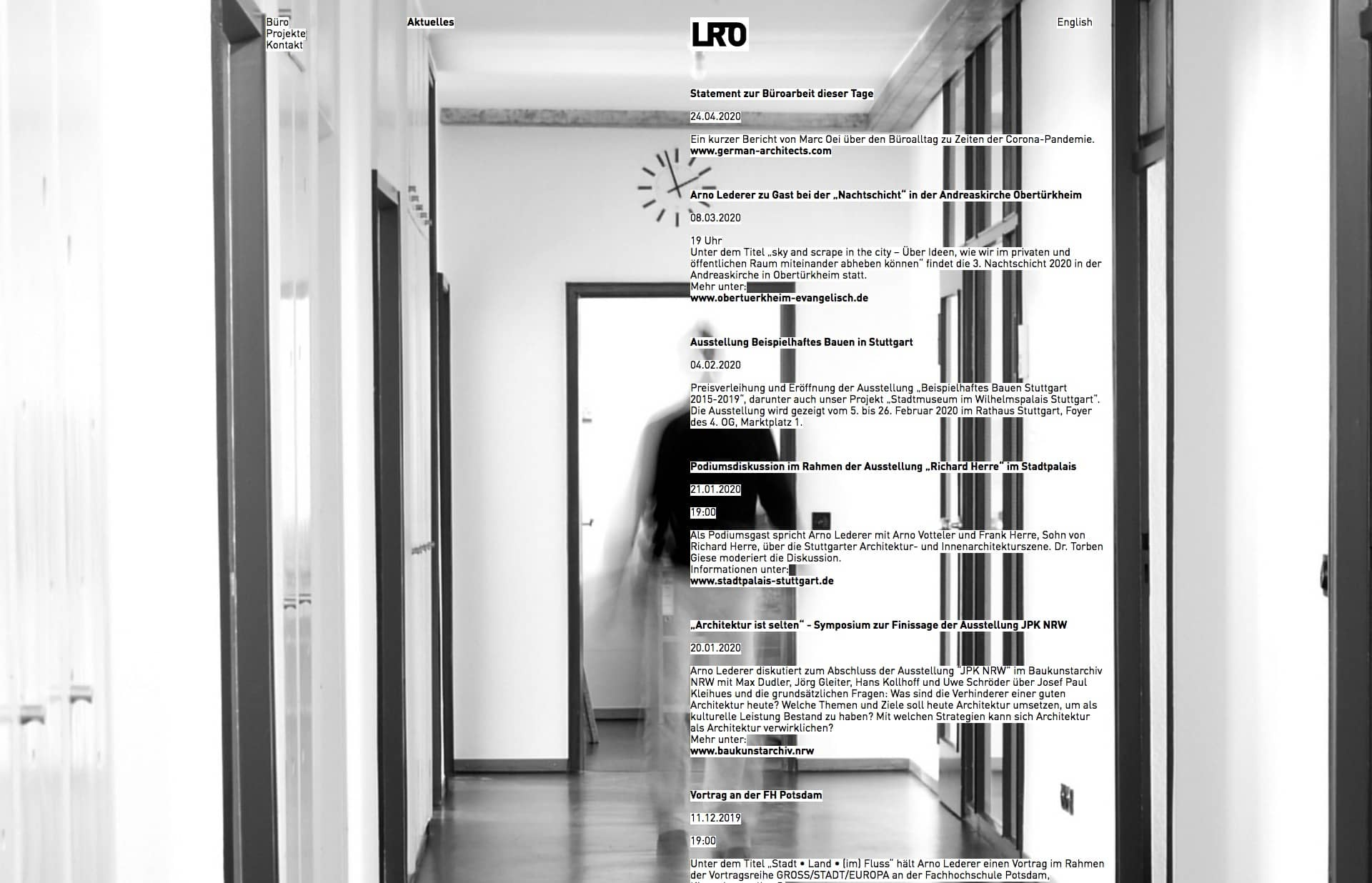 Screenshot of the website LRO, featured on The Gallery, a curated collection of minimal websites