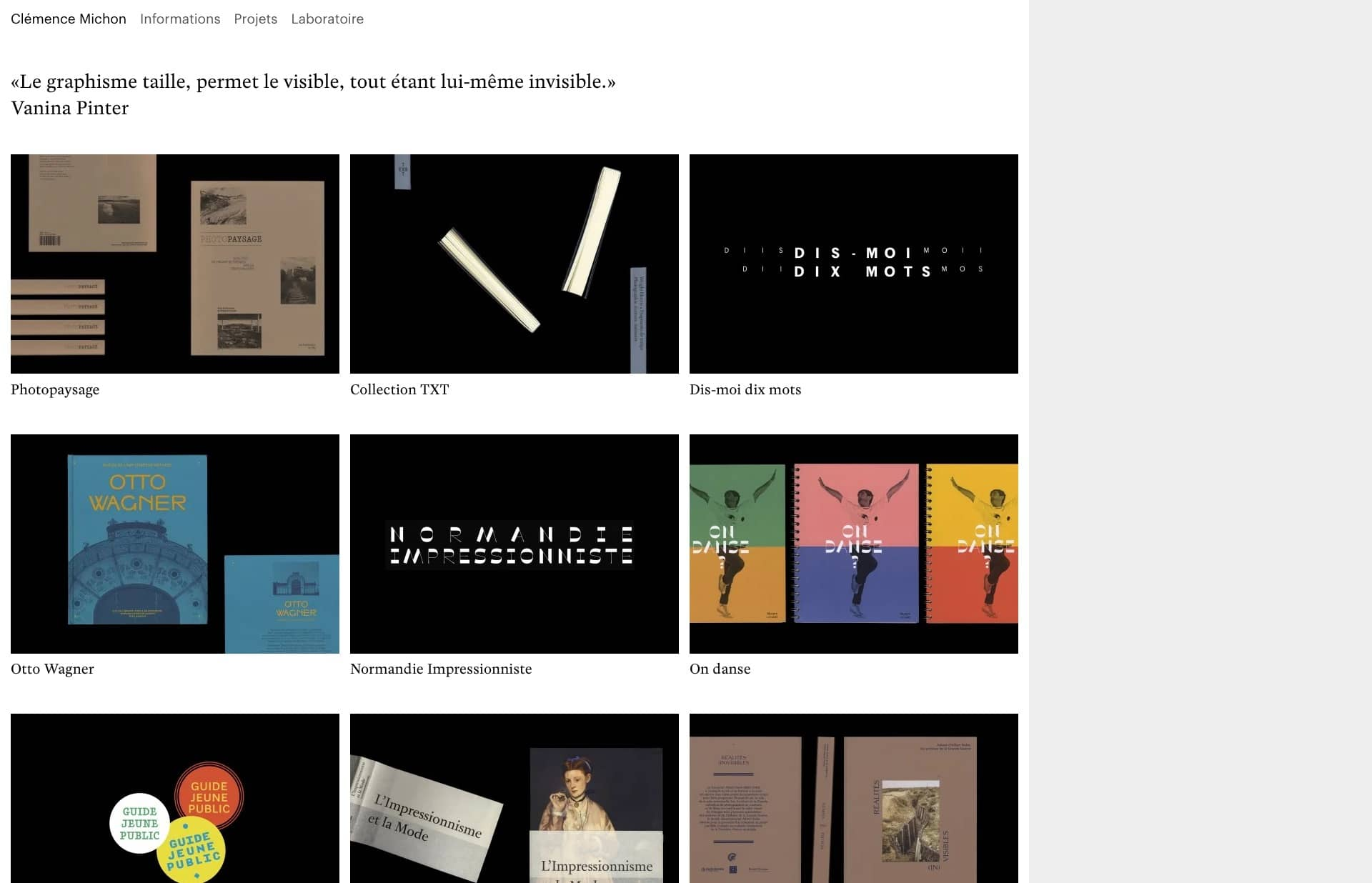 Screenshot of the website Clémence Michon, featured on The Gallery, a curated collection of minimal websites