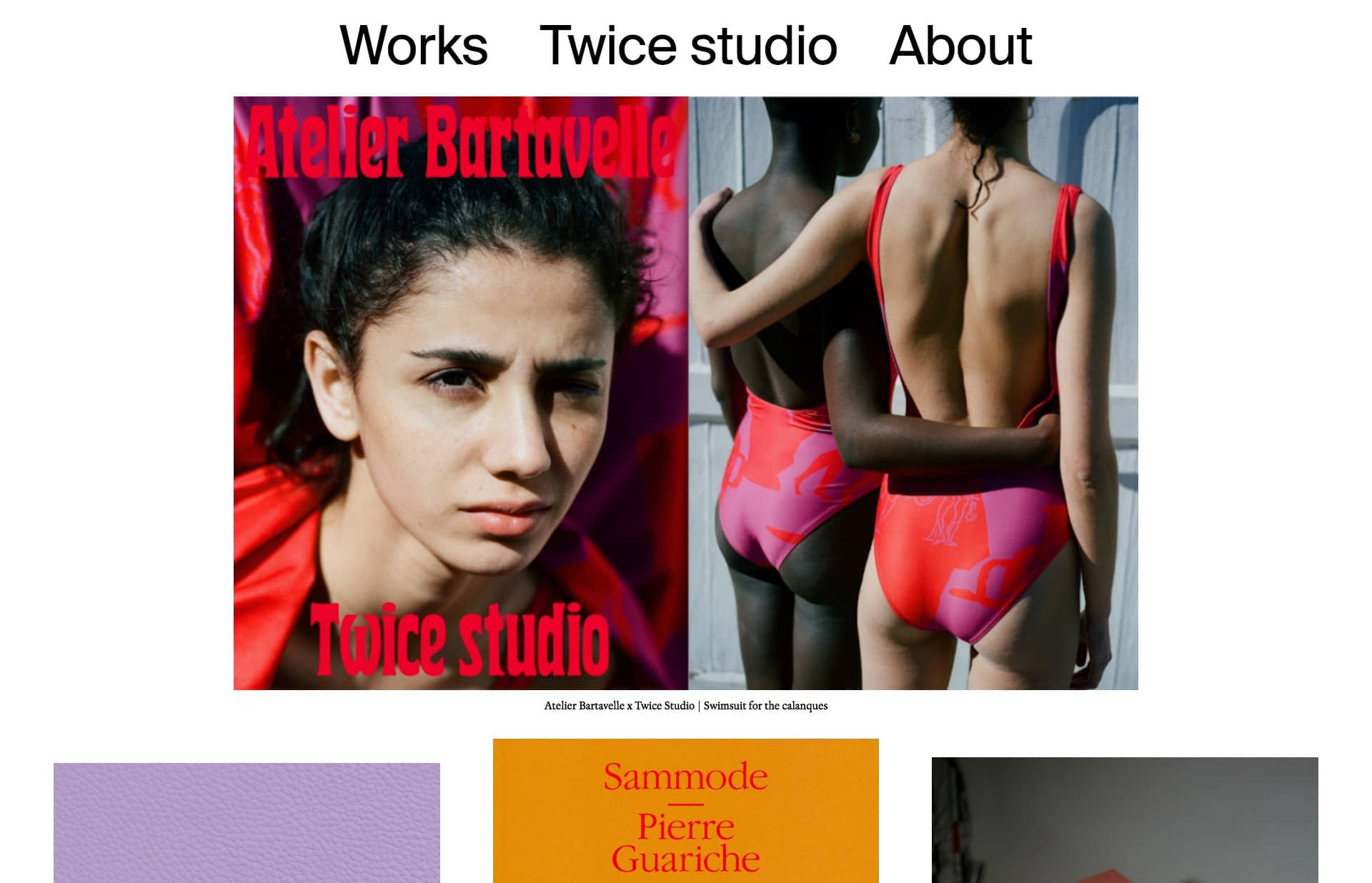 Screenshot of the website Twice Studio, featured on The Gallery, a curated collection of minimal websites
