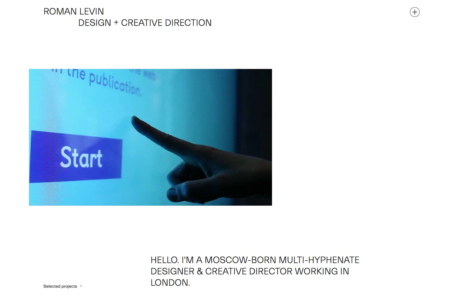 Screenshot of the website Roman Levin, featured on The Gallery, a curated collection of minimal websites