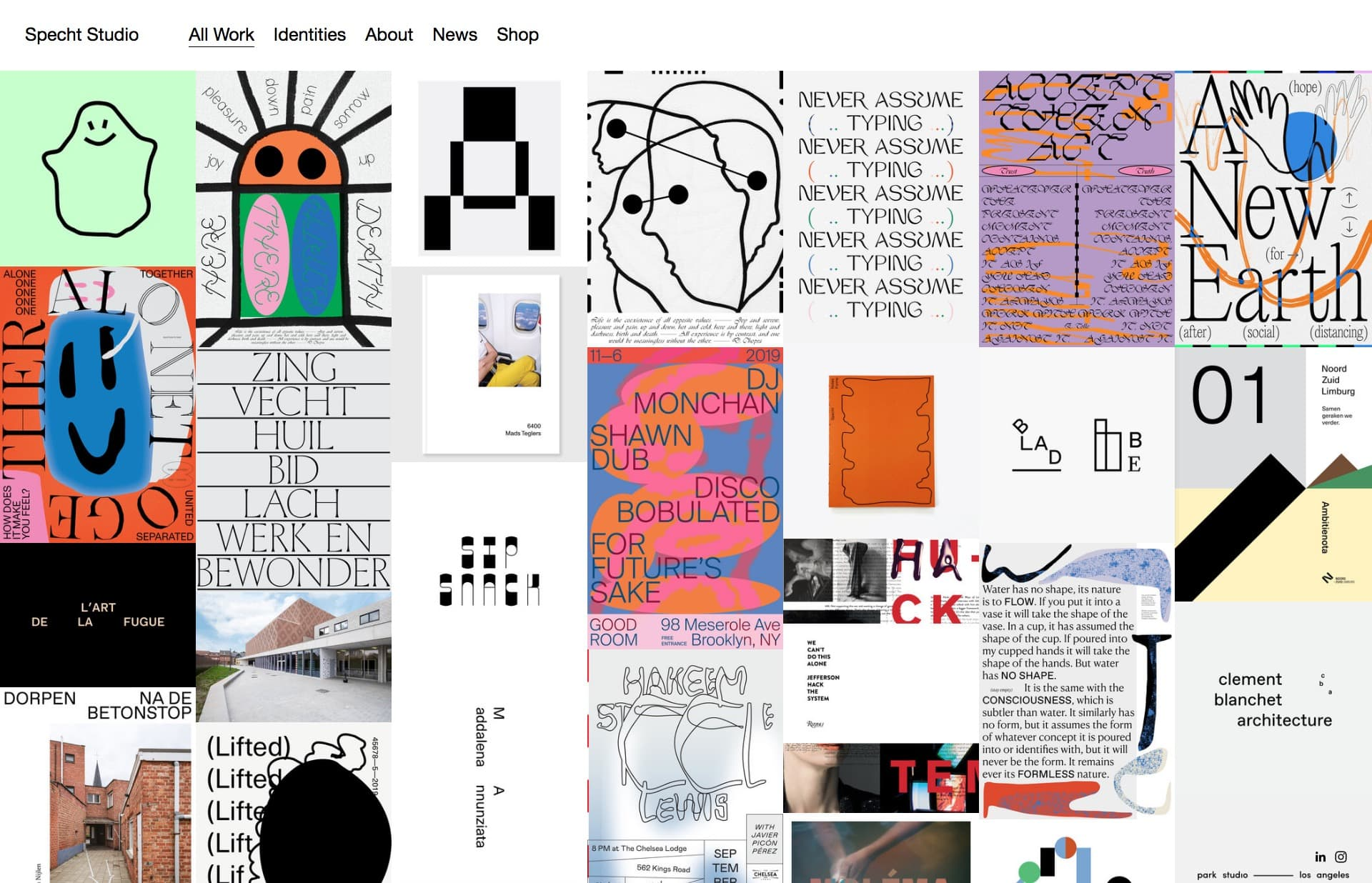 Screenshot of the website Specht Studio, featured on The Gallery, a curated collection of minimal websites