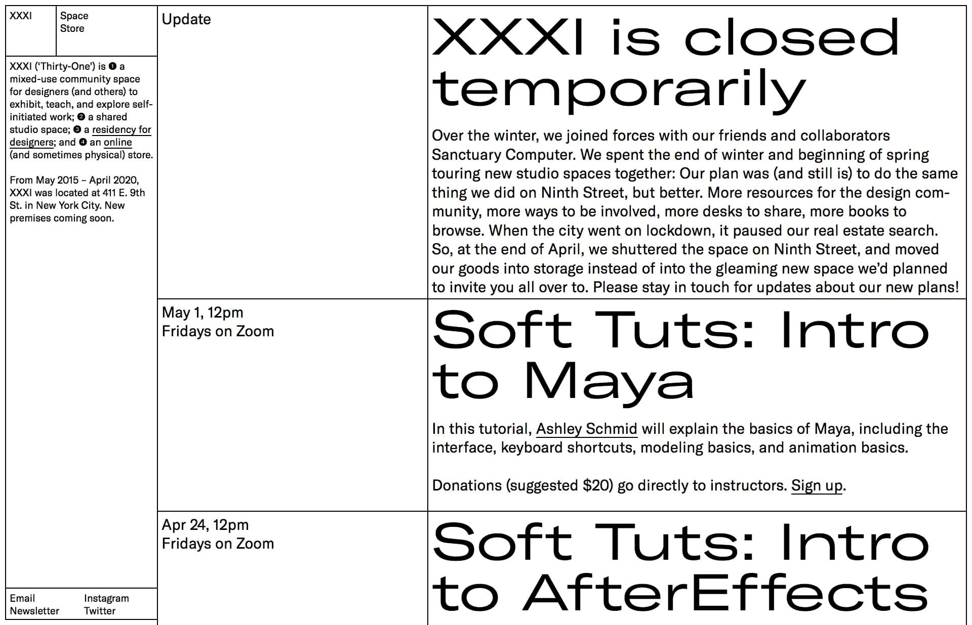 Screenshot of the website XXXI, featured on The Gallery, a curated collection of minimal websites