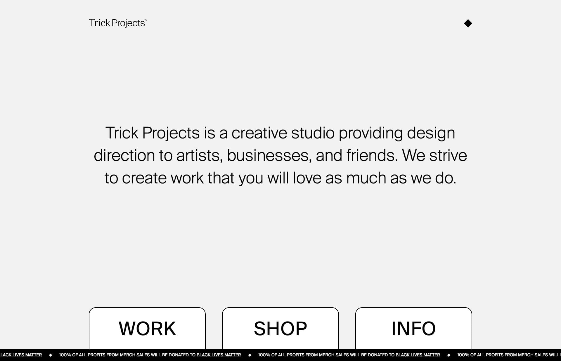 Screenshot of the website Trick Projects, featured on The Gallery, a curated collection of minimal websites