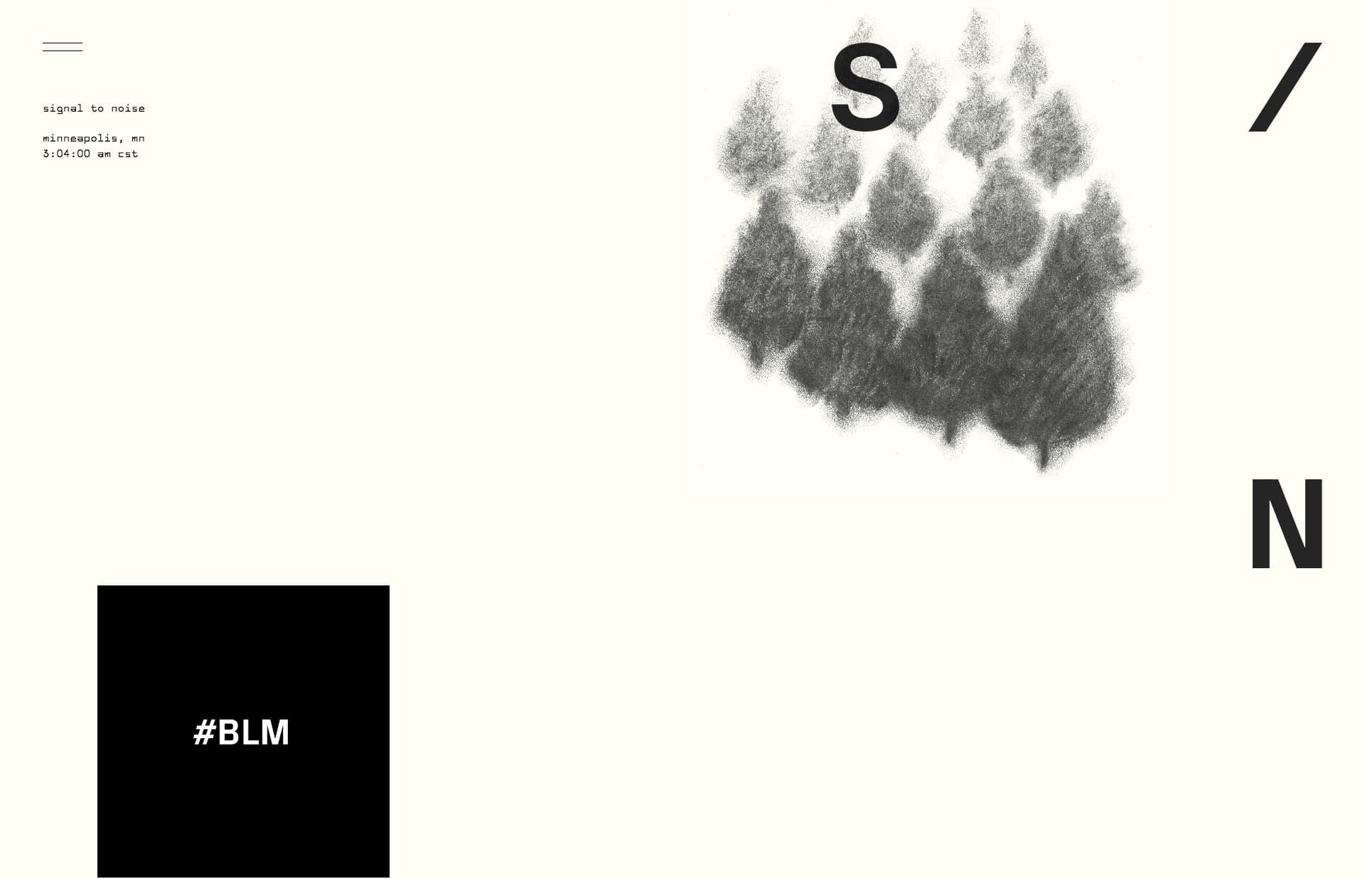 Screenshot of the website signal to noise, featured on The Gallery, a curated collection of minimal websites