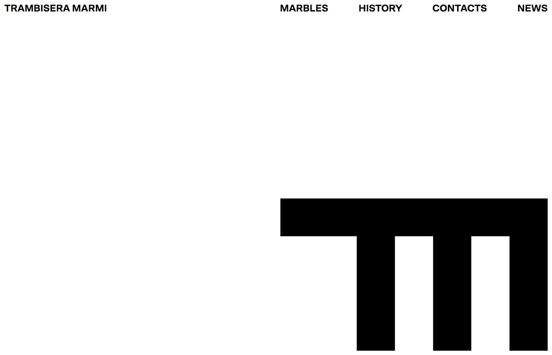 Screenshot of the website Trambisera Marmi, featured on The Gallery, a curated collection of minimal websites