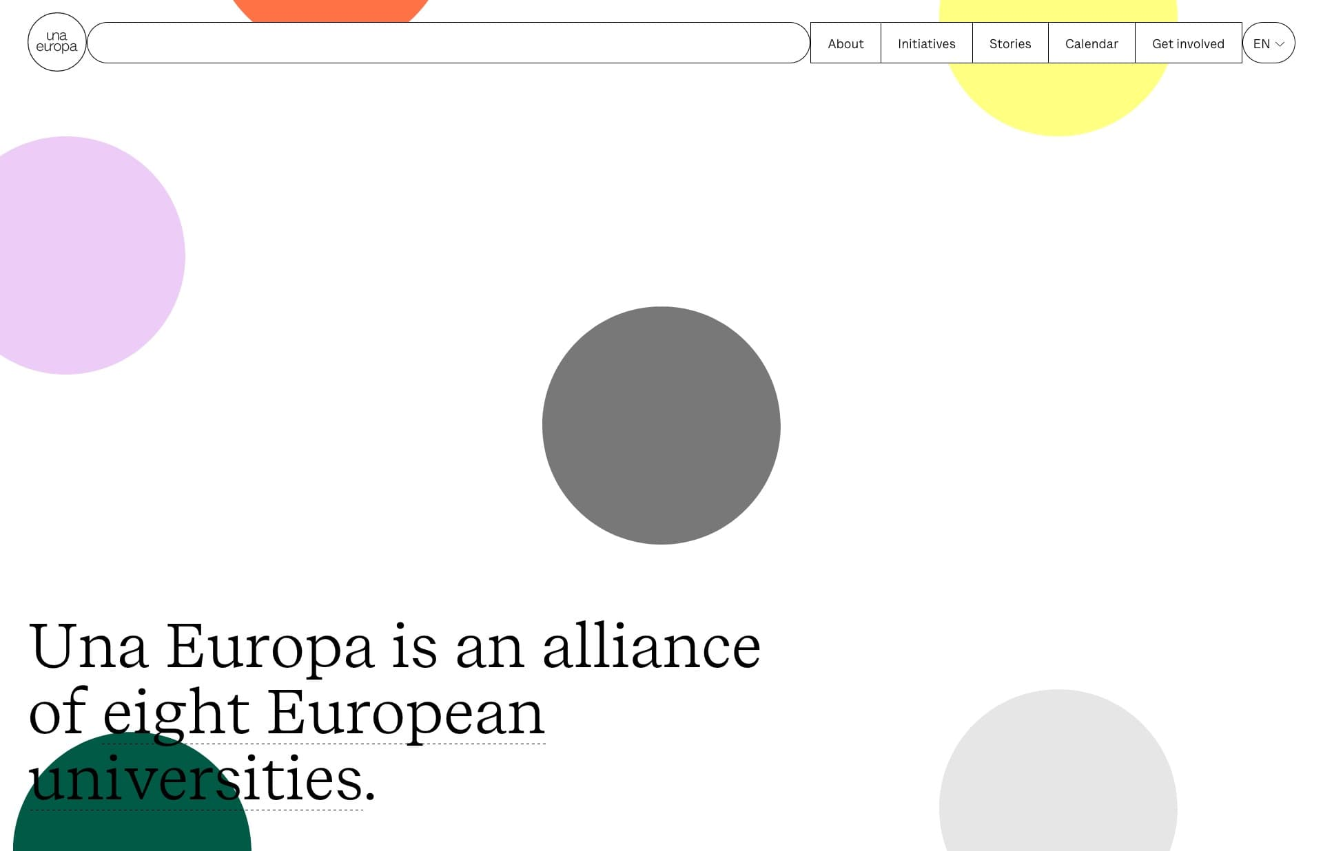 Screenshot of the website Una Europa, featured on The Gallery, a curated collection of minimal websites
