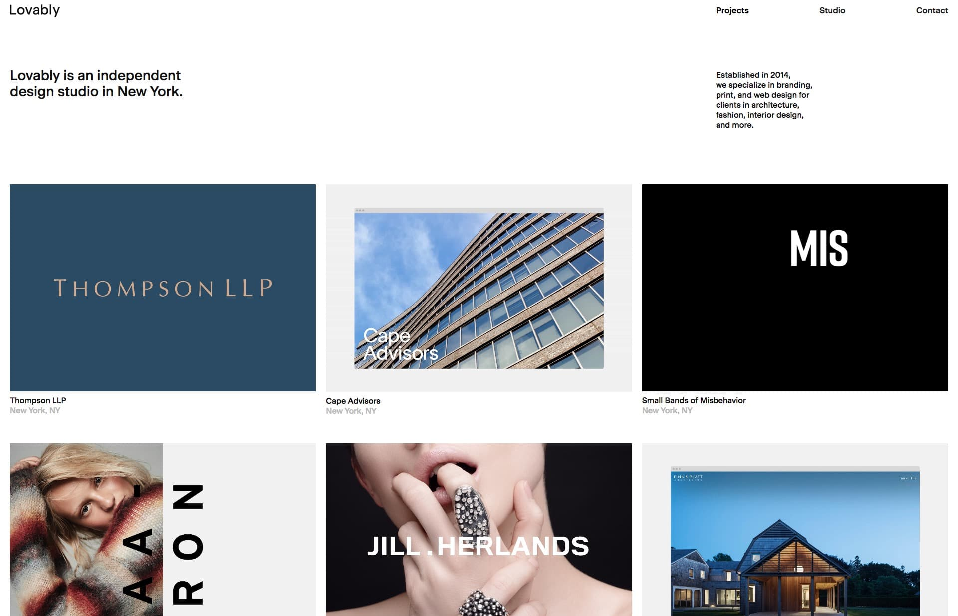 Screenshot of the website Lovably, featured on The Gallery, a curated collection of minimal websites
