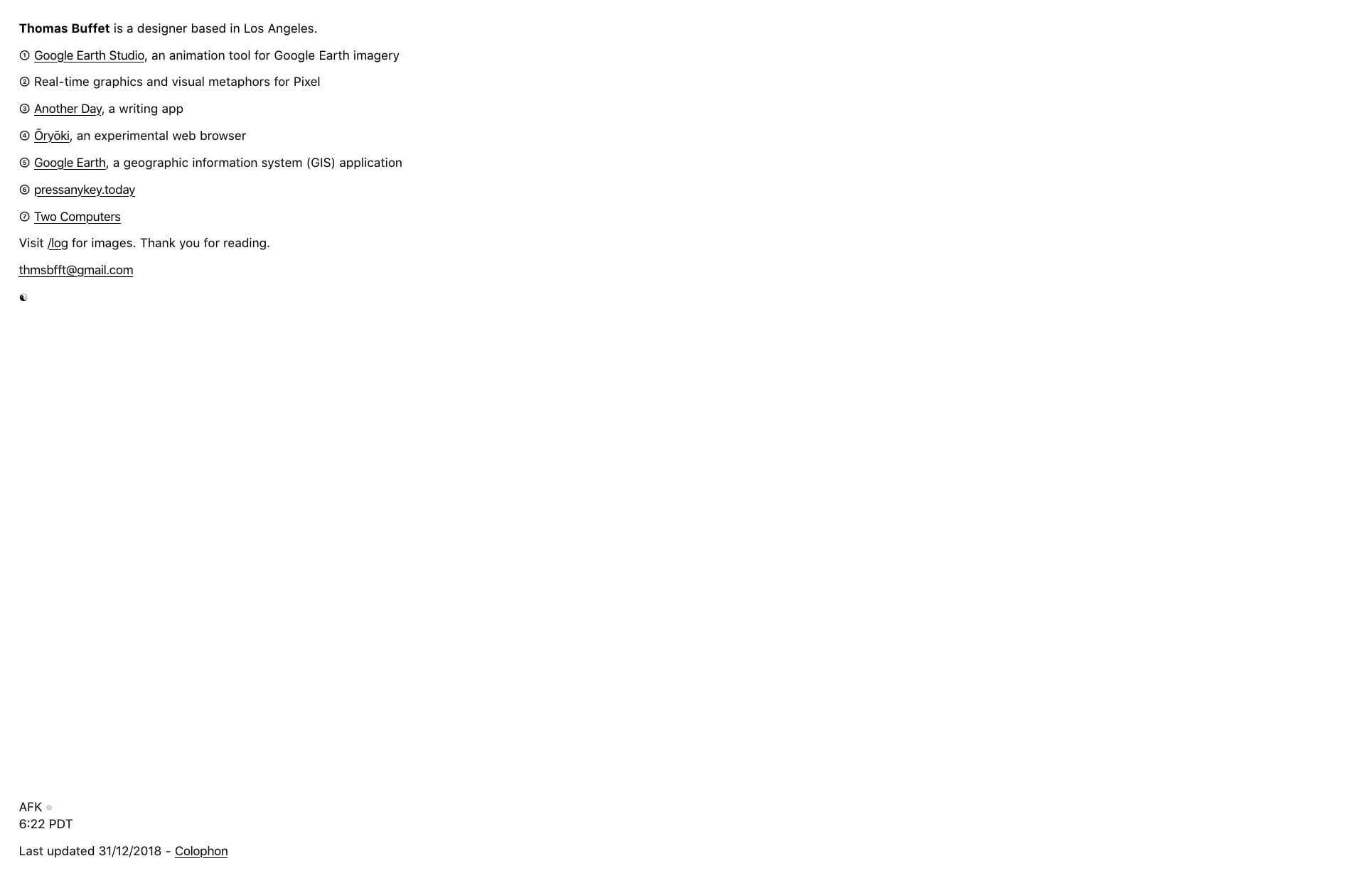 Screenshot of the website Thomas Buffet, featured on The Gallery, a curated collection of minimal websites