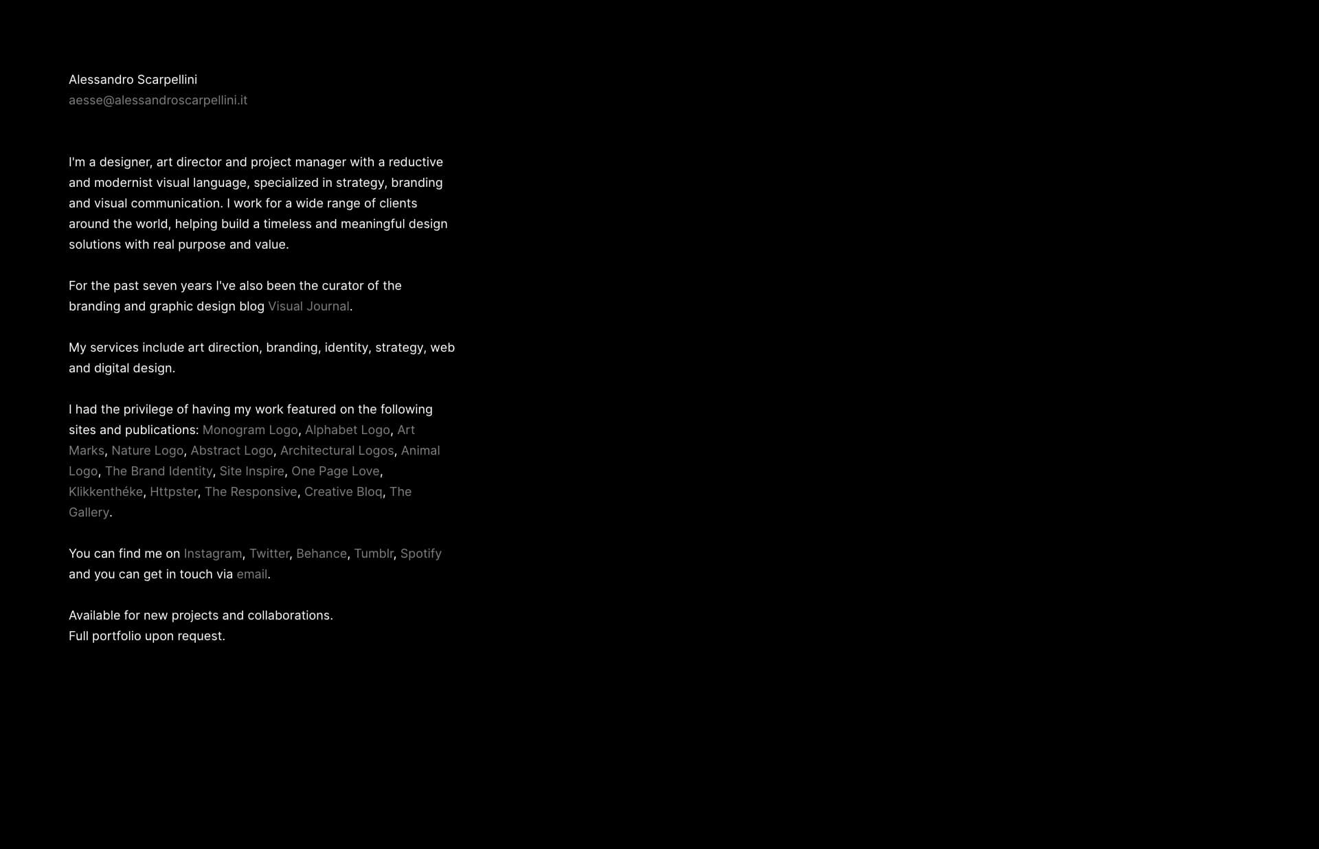 Screenshot of the website Aesse, featured on The Gallery, a curated collection of minimal websites