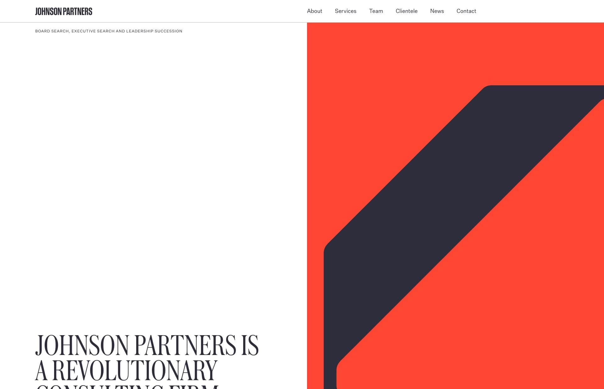 Screenshot of the website Johnson Partners, featured on The Gallery, a curated collection of minimal websites