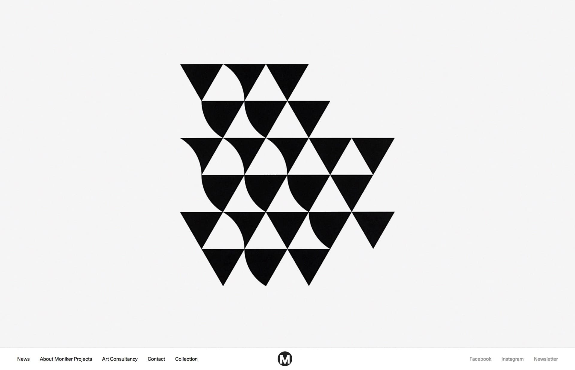 Screenshot of the website Moniker Projects, featured on The Gallery, a curated collection of minimal websites