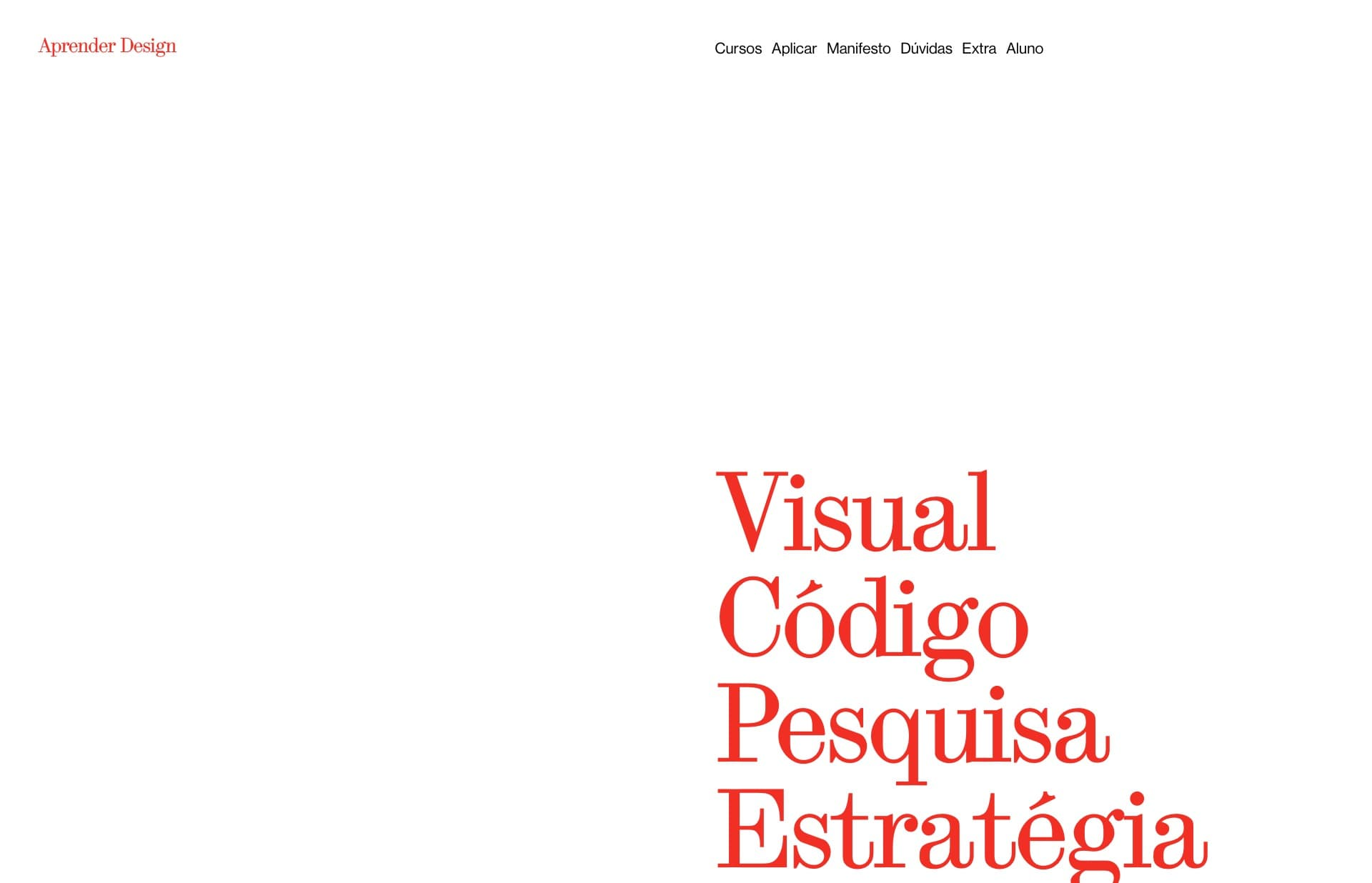 Screenshot of the website Aprender Design, featured on The Gallery, a curated collection of minimal websites