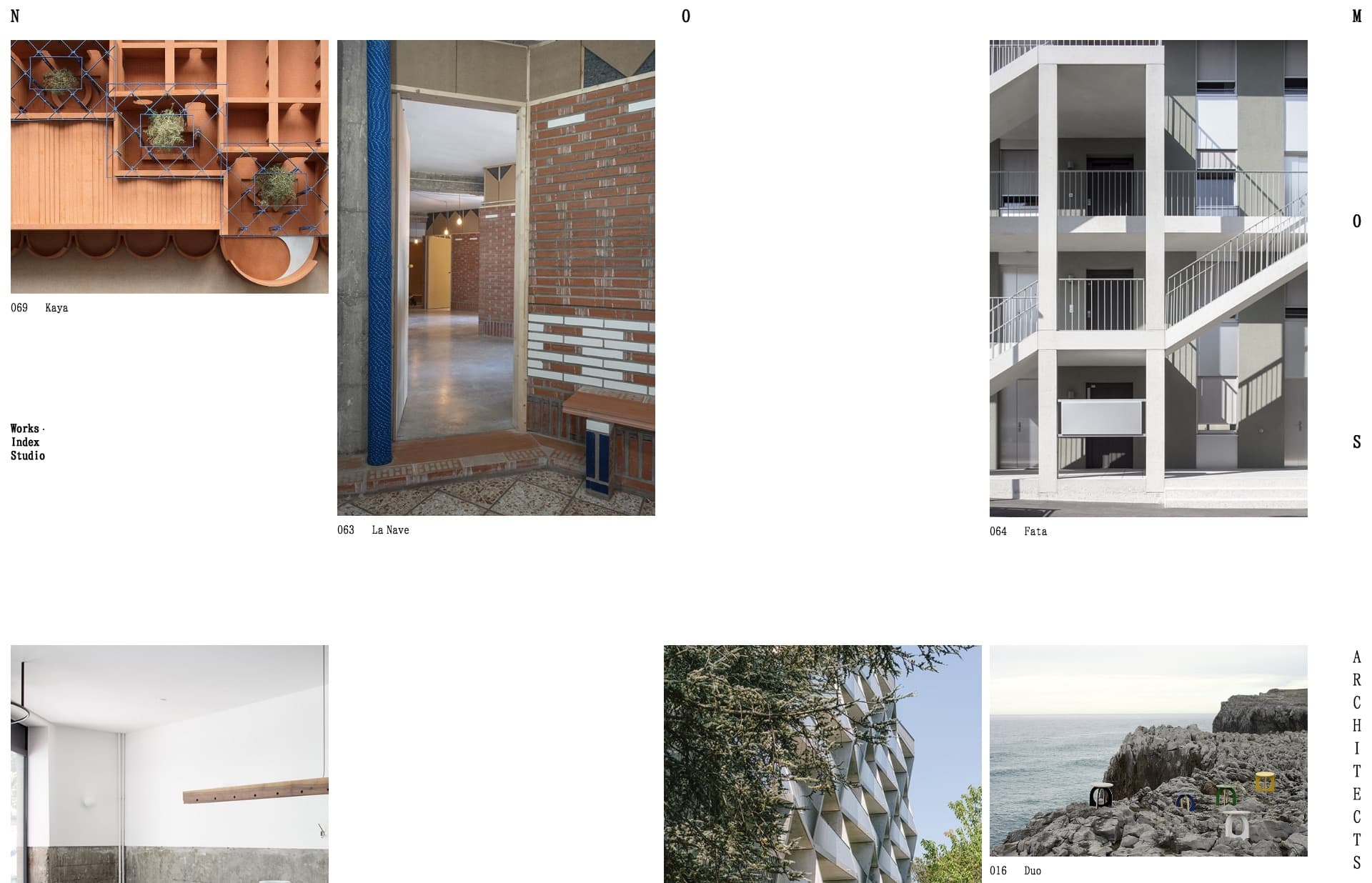 Screenshot of the website Nomos Architects, featured on The Gallery, a curated collection of minimal websites