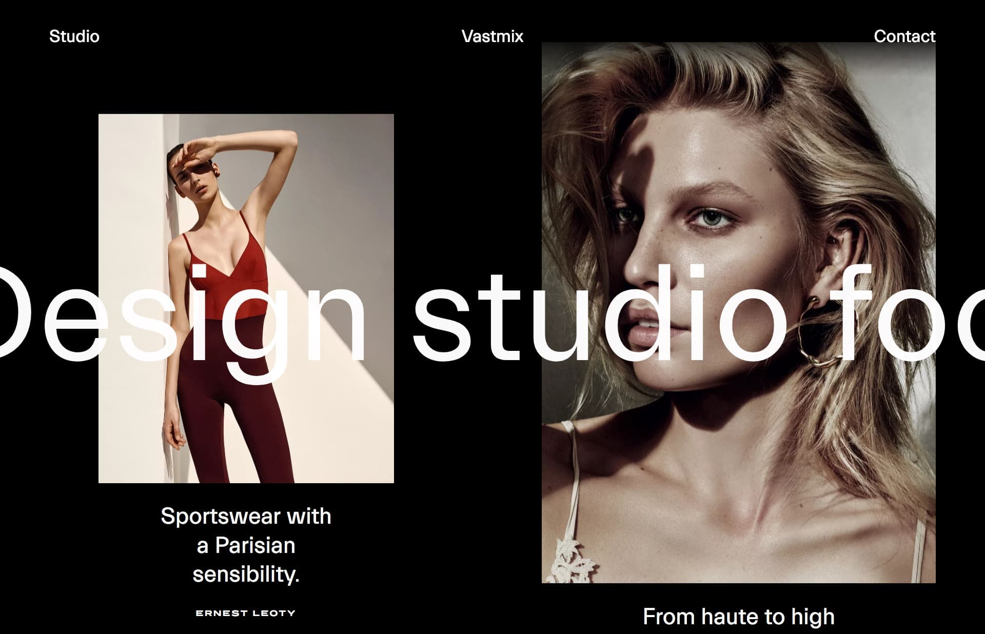 Screenshot of the website Vastmix, featured on The Gallery, a curated collection of minimal websites