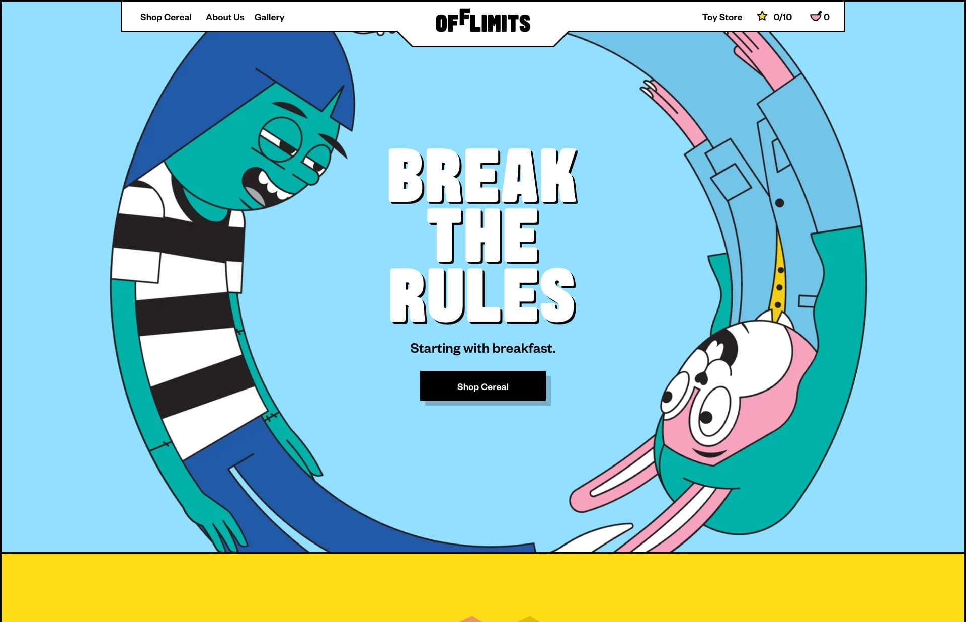 Screenshot of the website OffLimits, featured on The Gallery, a curated collection of minimal websites