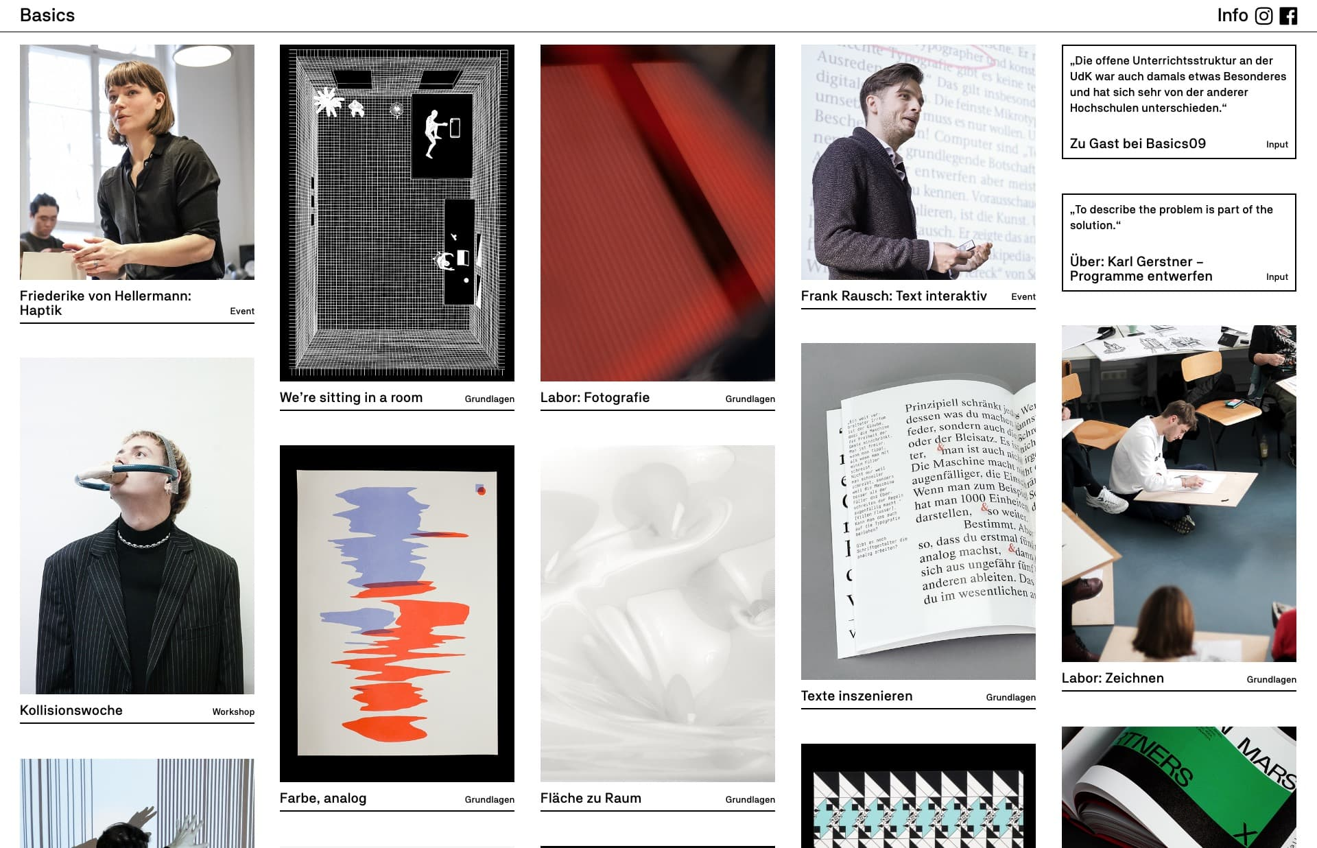 Screenshot of the website Basics Blog, featured on The Gallery, a curated collection of minimal websites