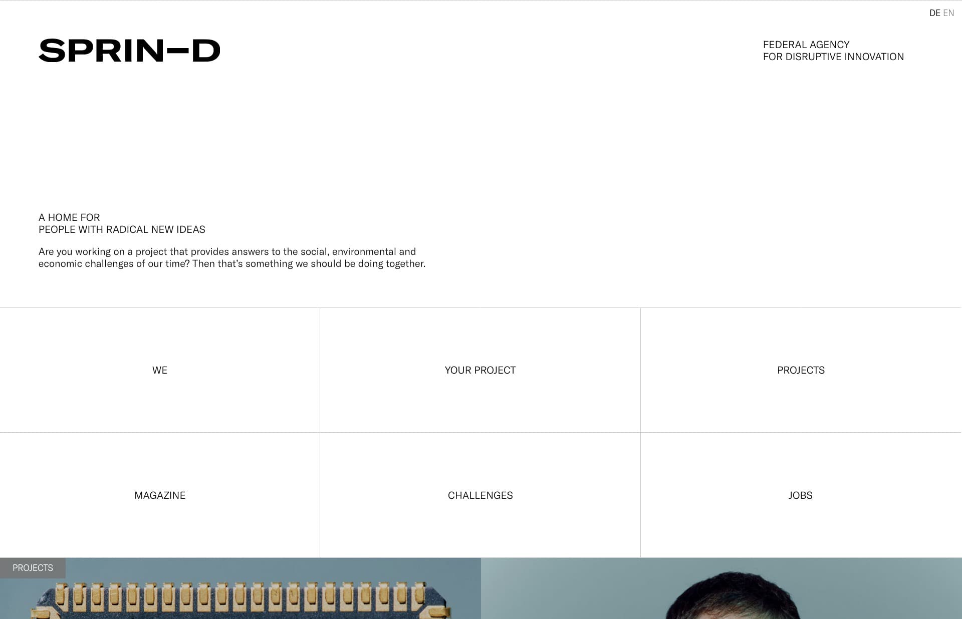 Screenshot of the website Sprin-D, featured on The Gallery, a curated collection of minimal websites