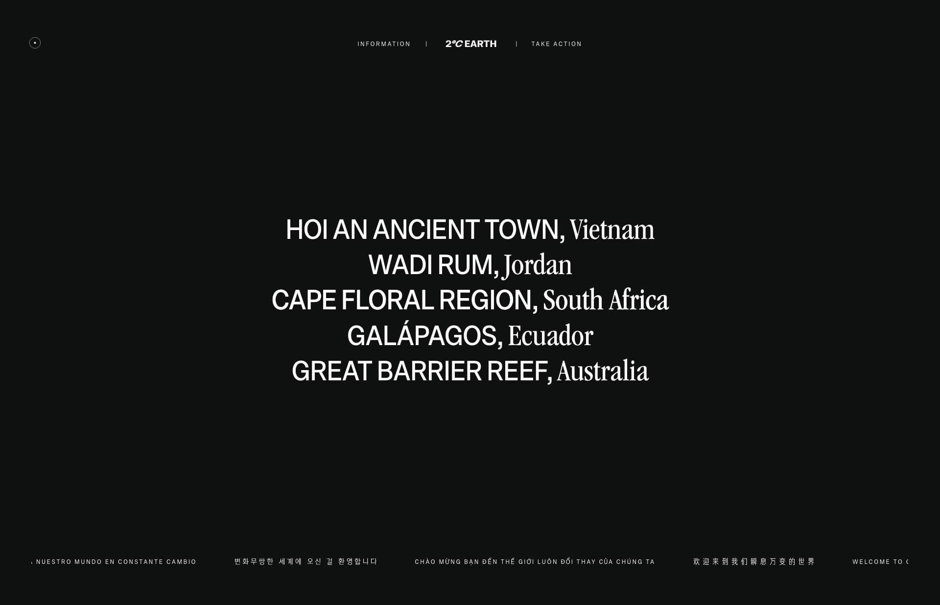 Screenshot of the website 2°C Earth, featured on The Gallery, a curated collection of minimal websites