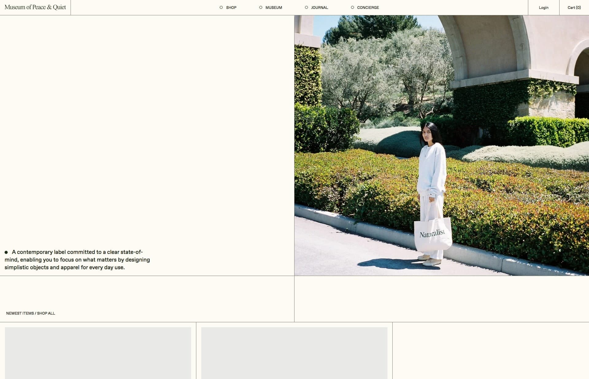 Screenshot of the website Museum of Peace and Quiet, featured on The Gallery, a curated collection of minimal websites