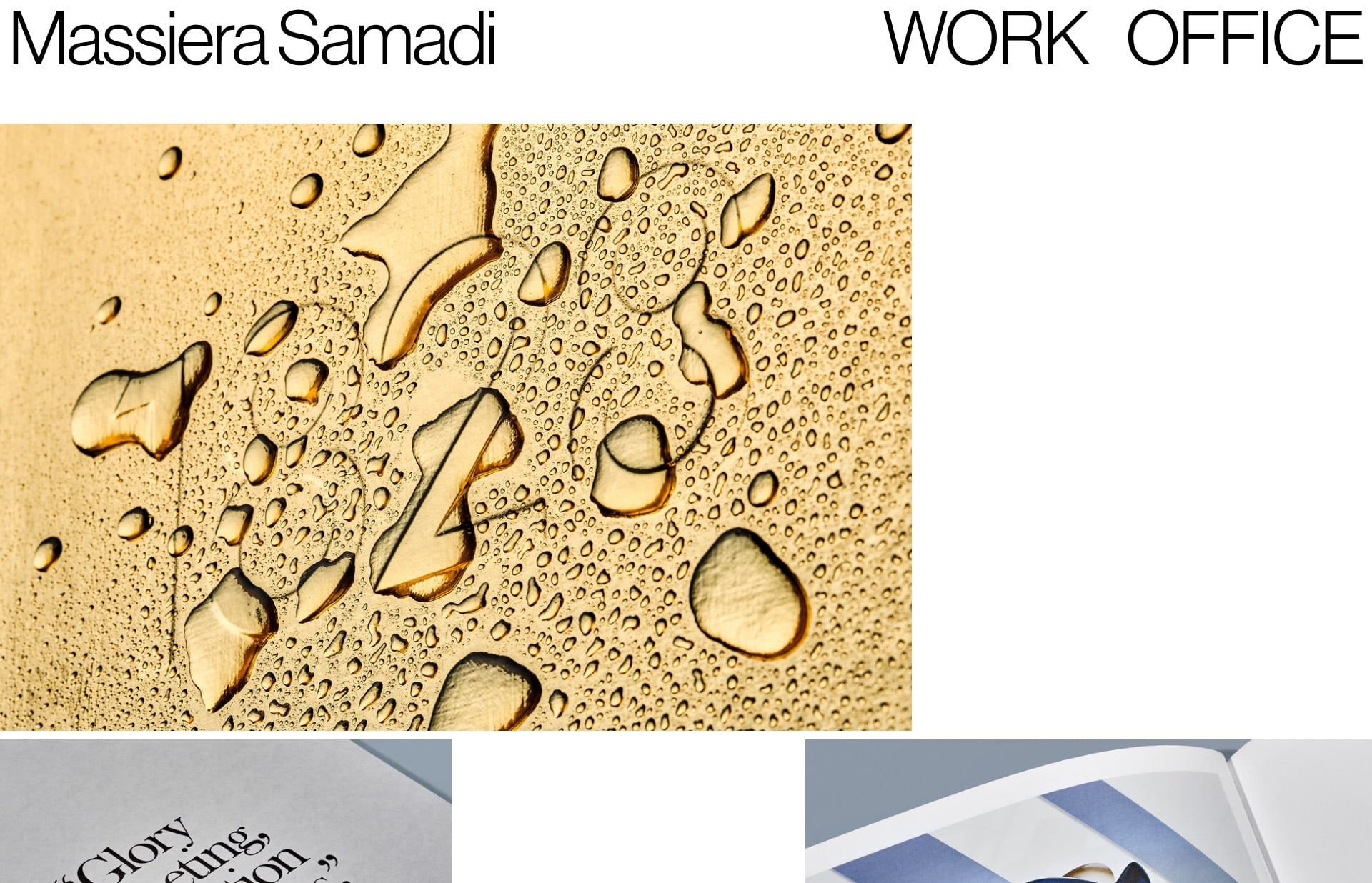 Screenshot of the website Massiera Samadi, featured on The Gallery, a curated collection of minimal websites