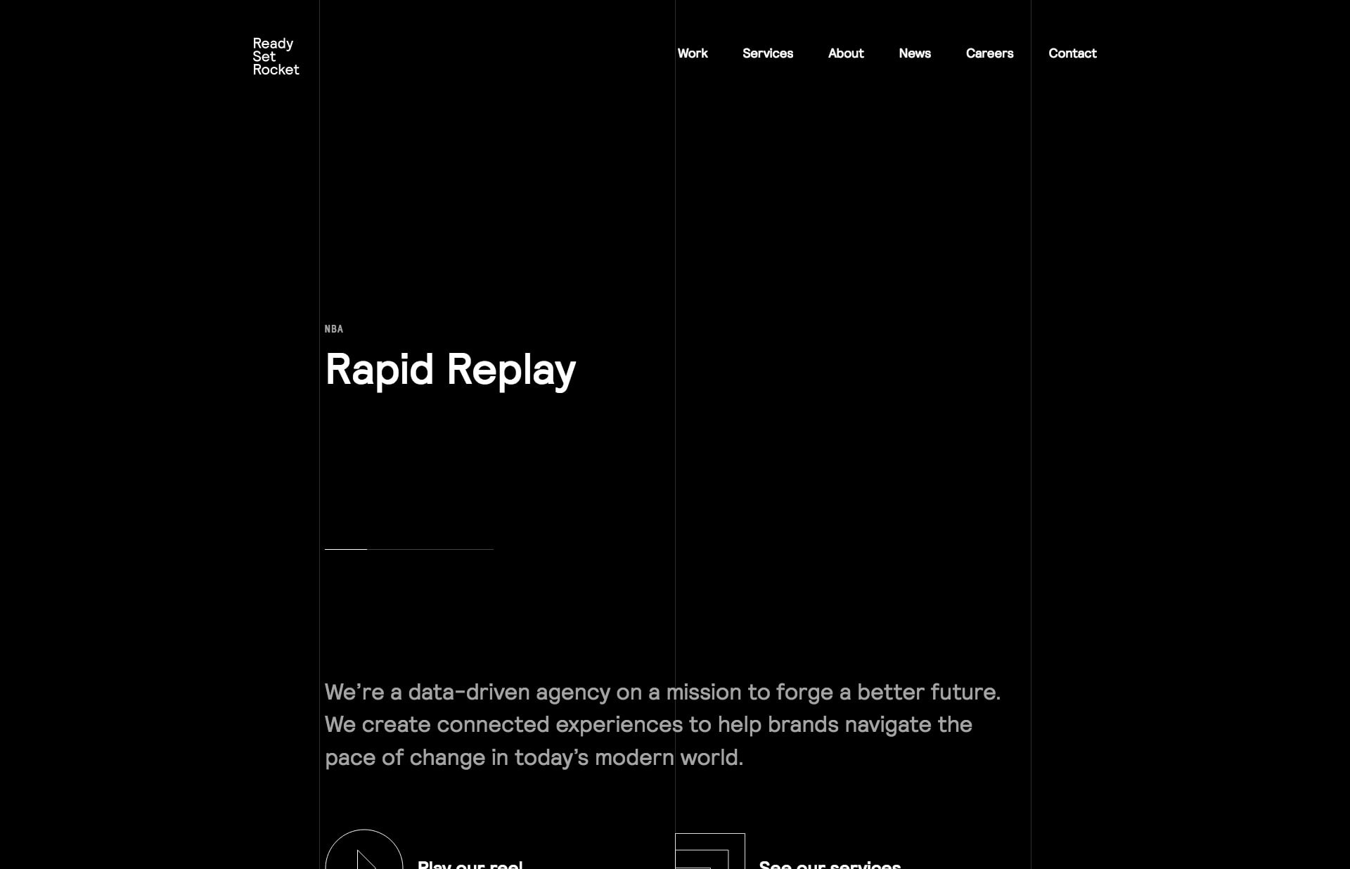 Screenshot of the website Ready Set Rocket, featured on The Gallery, a curated collection of minimal websites
