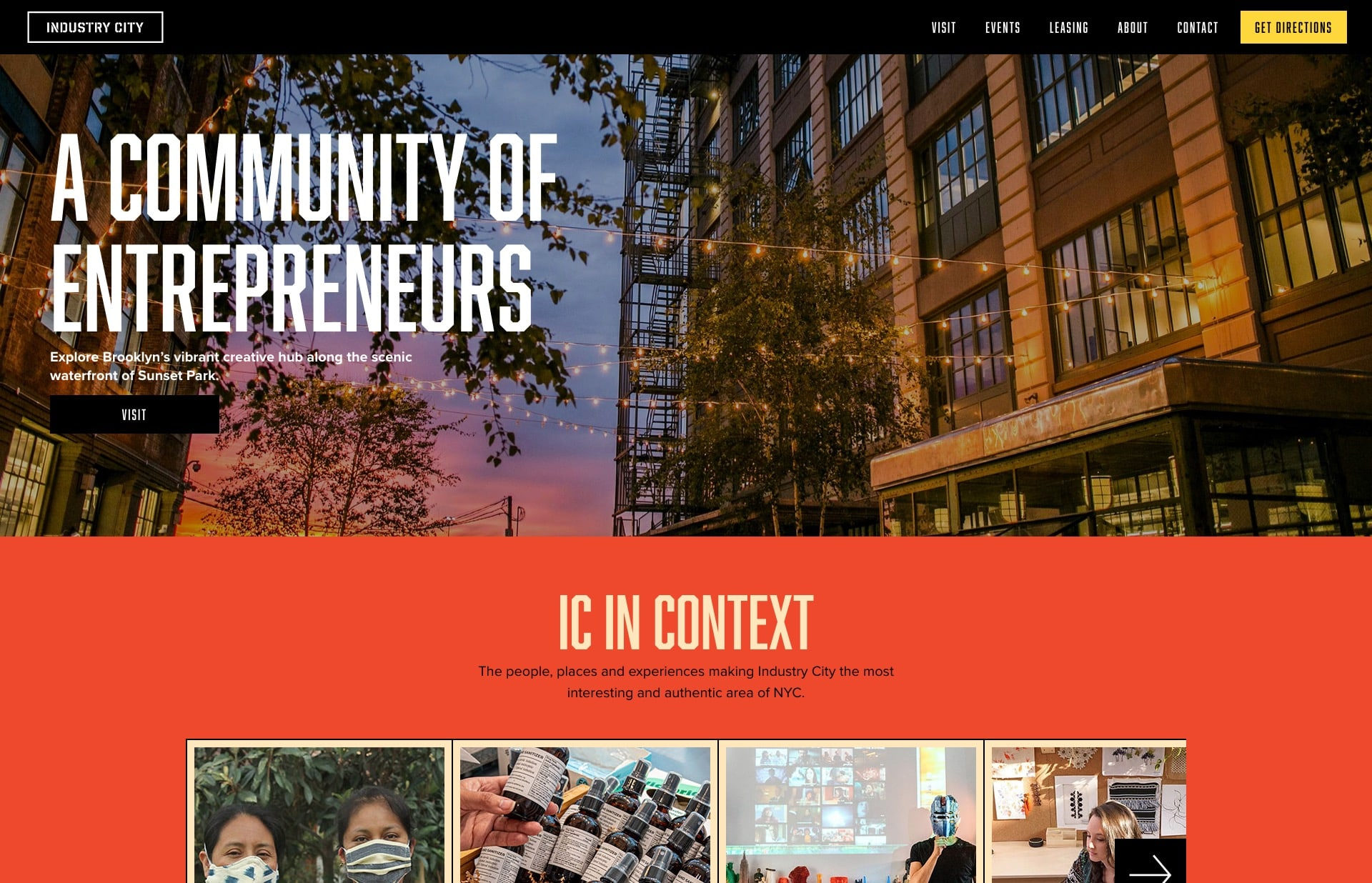 Screenshot of the website Industry CIty, featured on The Gallery, a curated collection of minimal websites