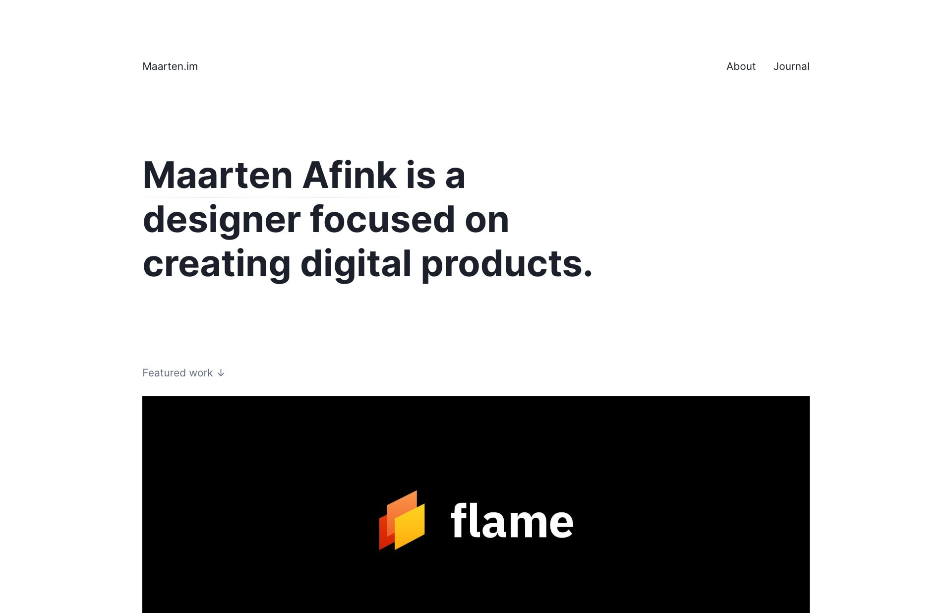 Screenshot of the website Maarten Afink, featured on The Gallery, a curated collection of minimal websites