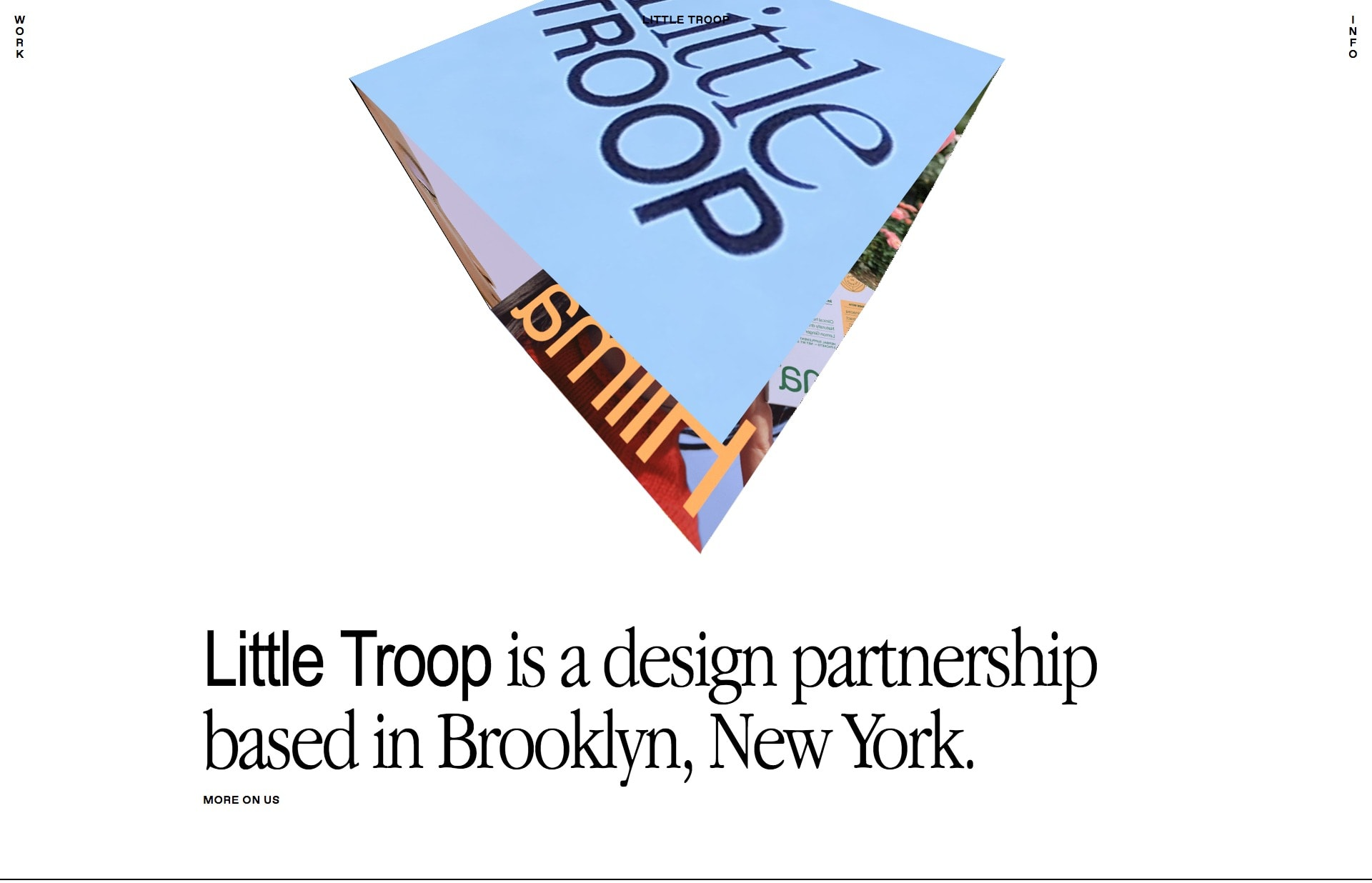 Screenshot of the website Little Troop, featured on The Gallery, a curated collection of minimal websites