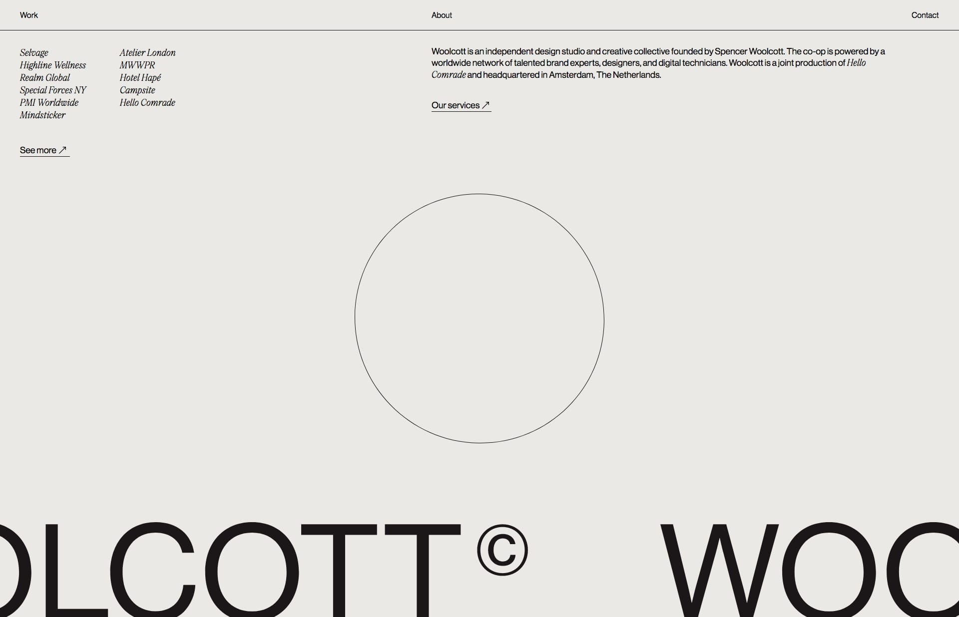 Screenshot of the website Woolcott, featured on The Gallery, a curated collection of minimal websites